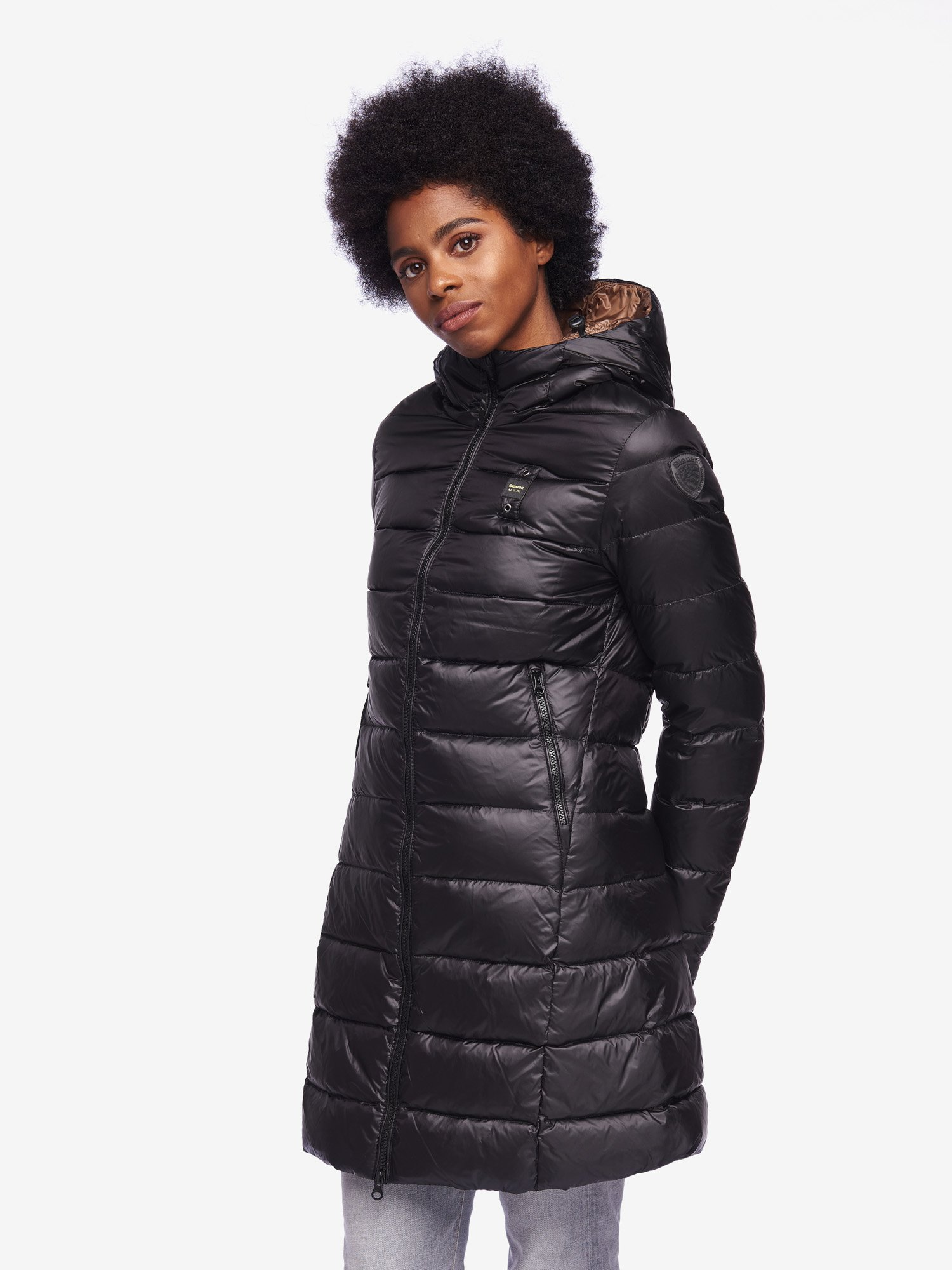 GEORGE LONG DOWN JACKET WITH HOOD - Blauer