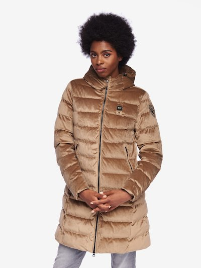 FISHER VELVETY LONG DOWN JACKET WITH HOOD