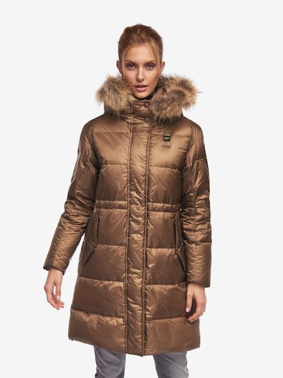 WELLS LONG DOWN JACKET WITH FUR TRIM