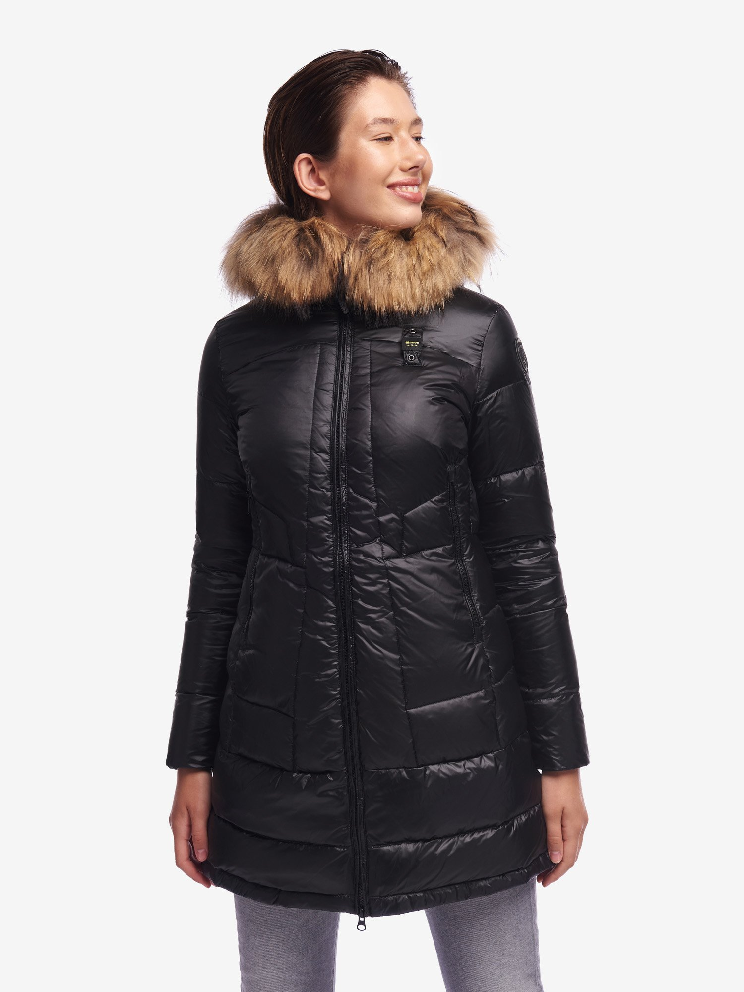 BRADLEY LONG DOWN JACKET WITH FUR - Blauer