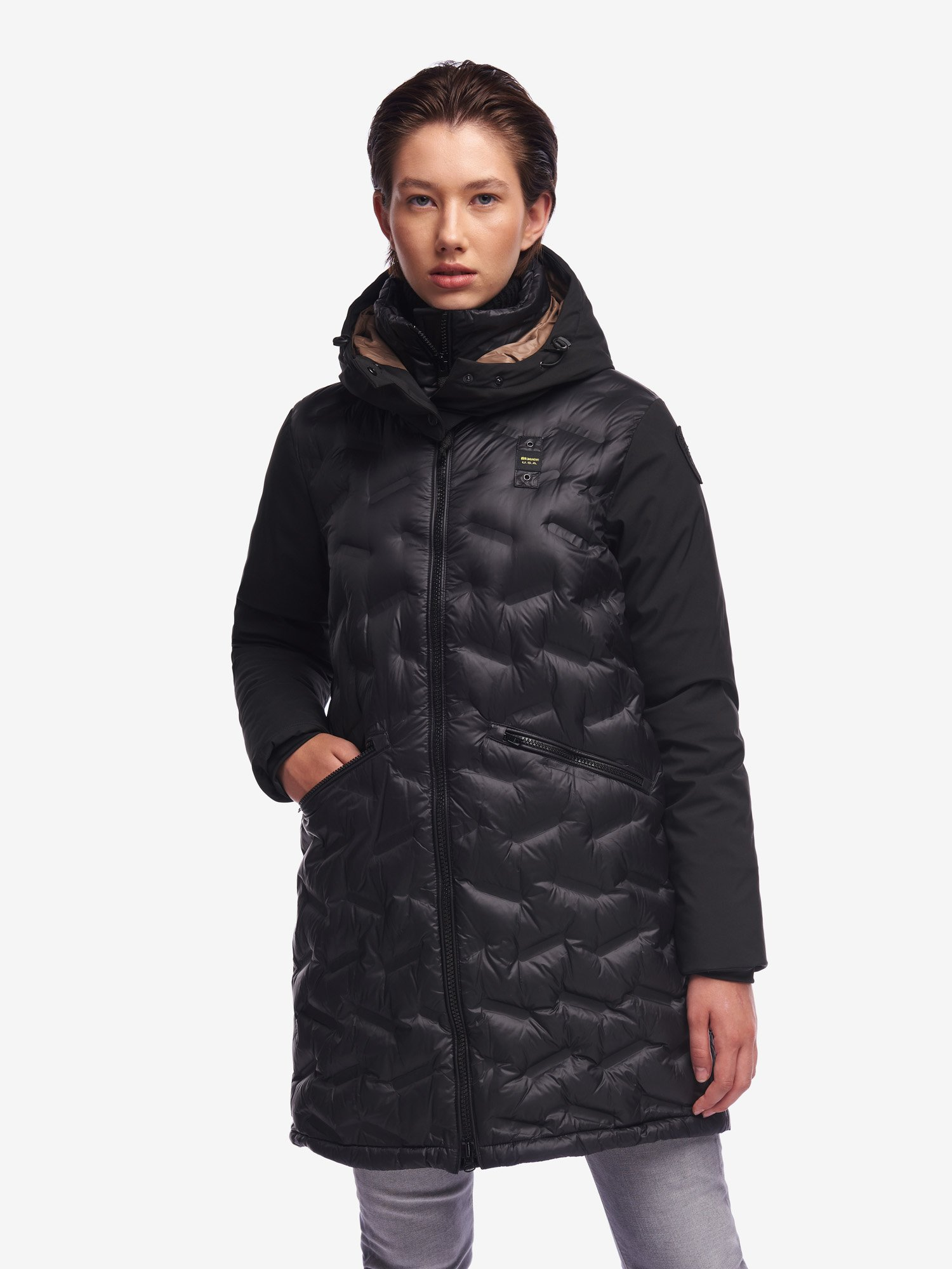 JENKINS LONG NYLON AND NEOPRENE DOWN JACKET - Blauer