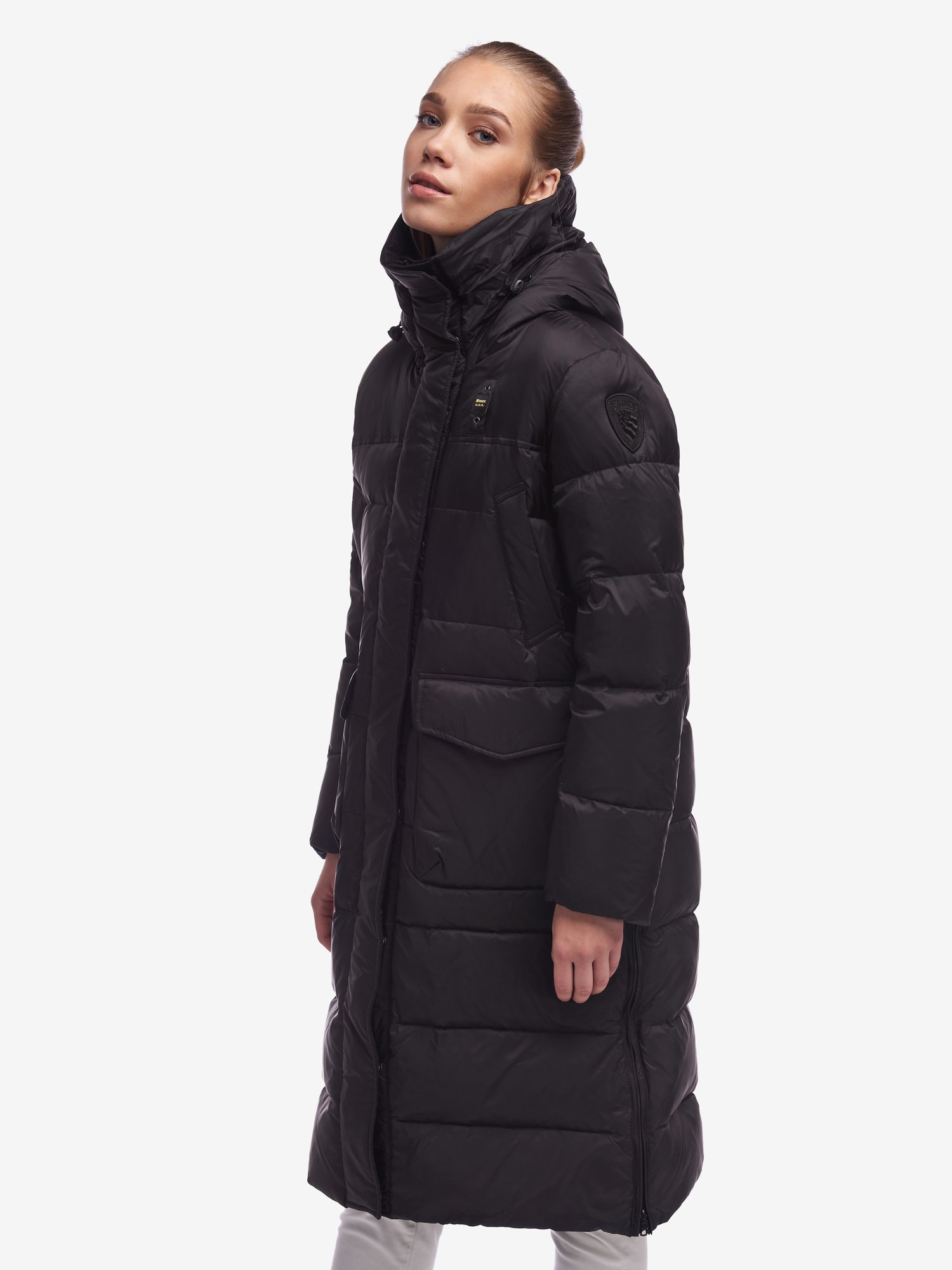 Blauer - LOWE LONG DOWN JACKET WITH SLITS AND WITHOUT FUR - Black - Blauer
