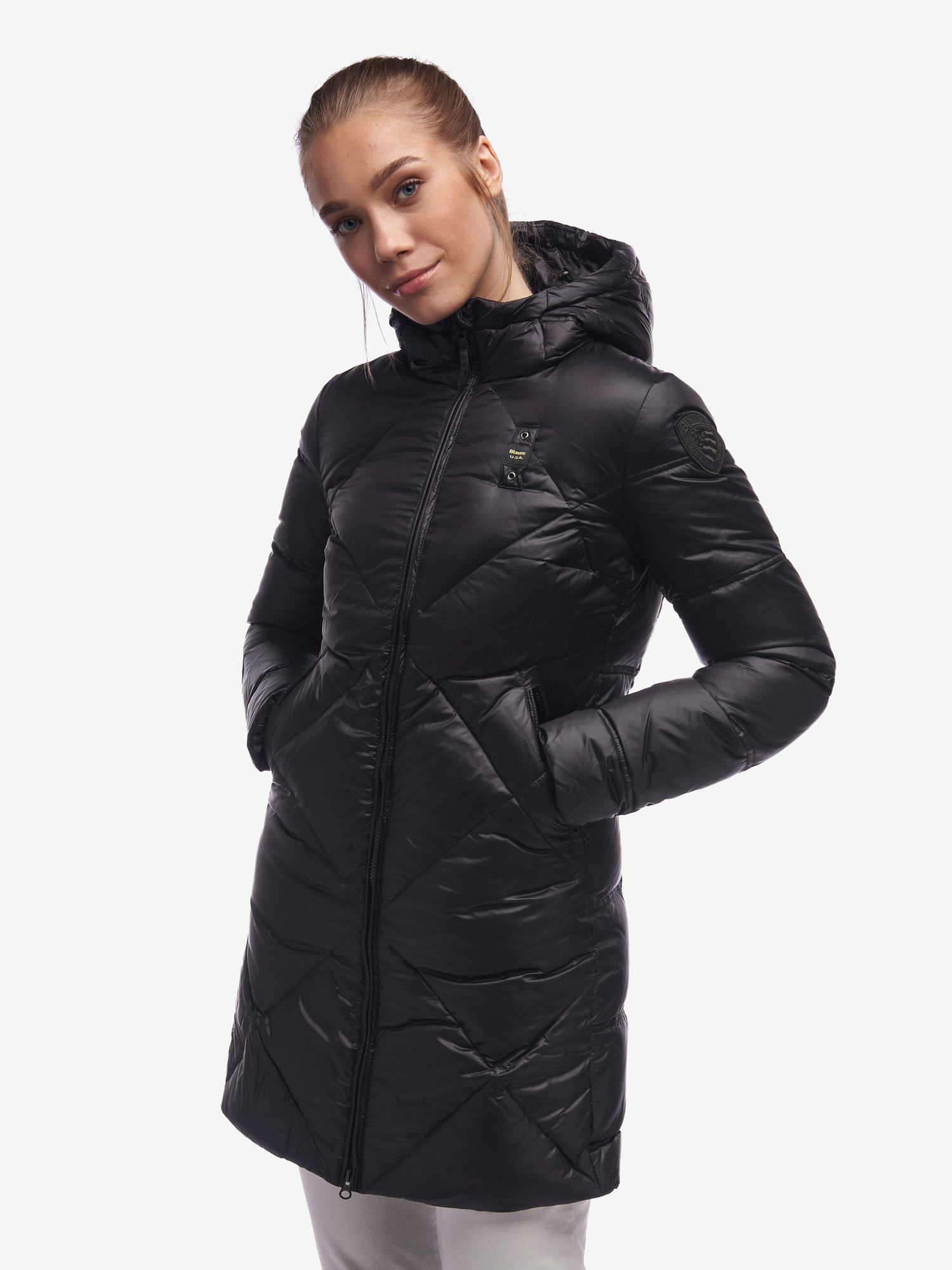 BLACK LONG DOWN JACKET IN IRIDESCENT NYLON - Blauer