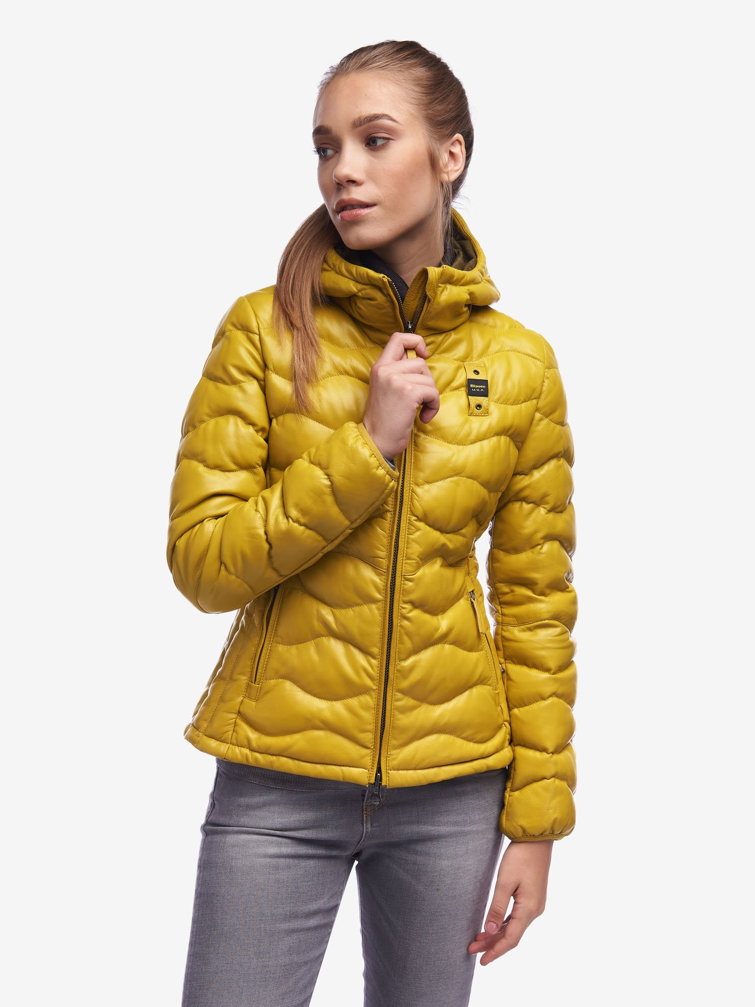 DAVIES WOMEN'S JACKET IN COLOURED LEATHER - Blauer