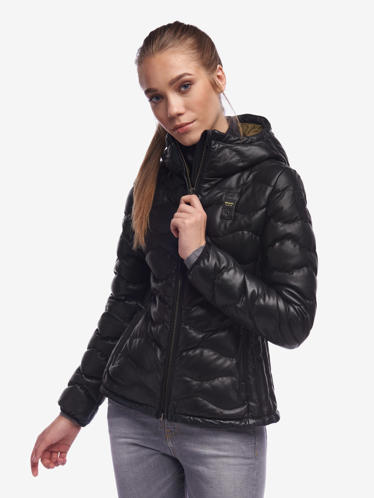 Blauer - DAVIES WOMEN'S JACKET IN COLOURED LEATHER - Black - Blauer
