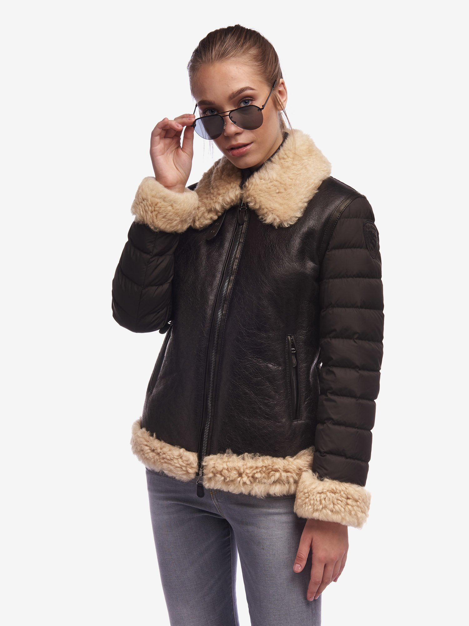 LEE VINTAGE SHEARLING LEATHER AND NYLON JACKET - Blauer