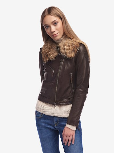 WARD BIKER JACKET WITH FUR COLLAR