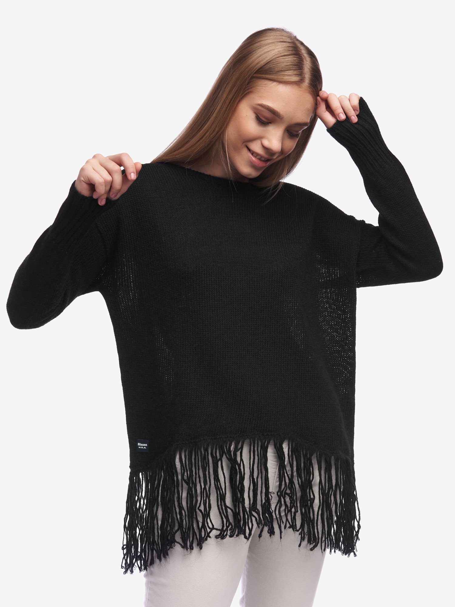 Blauer - FRINGED SWEATER - Black - Blauer