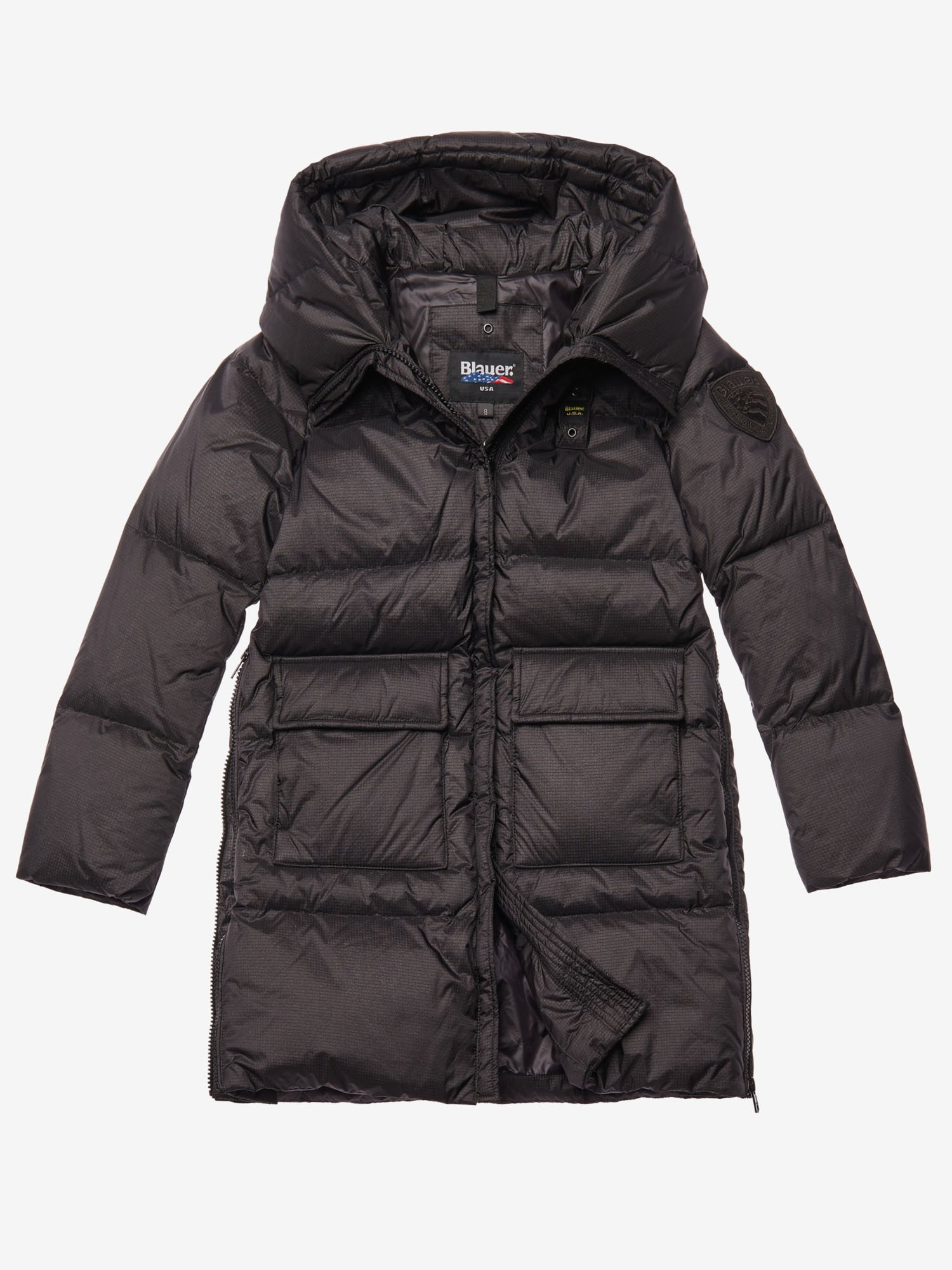 Blauer - WOODS  LONG IRIDESCENT DOWN JACKET - Black - Blauer