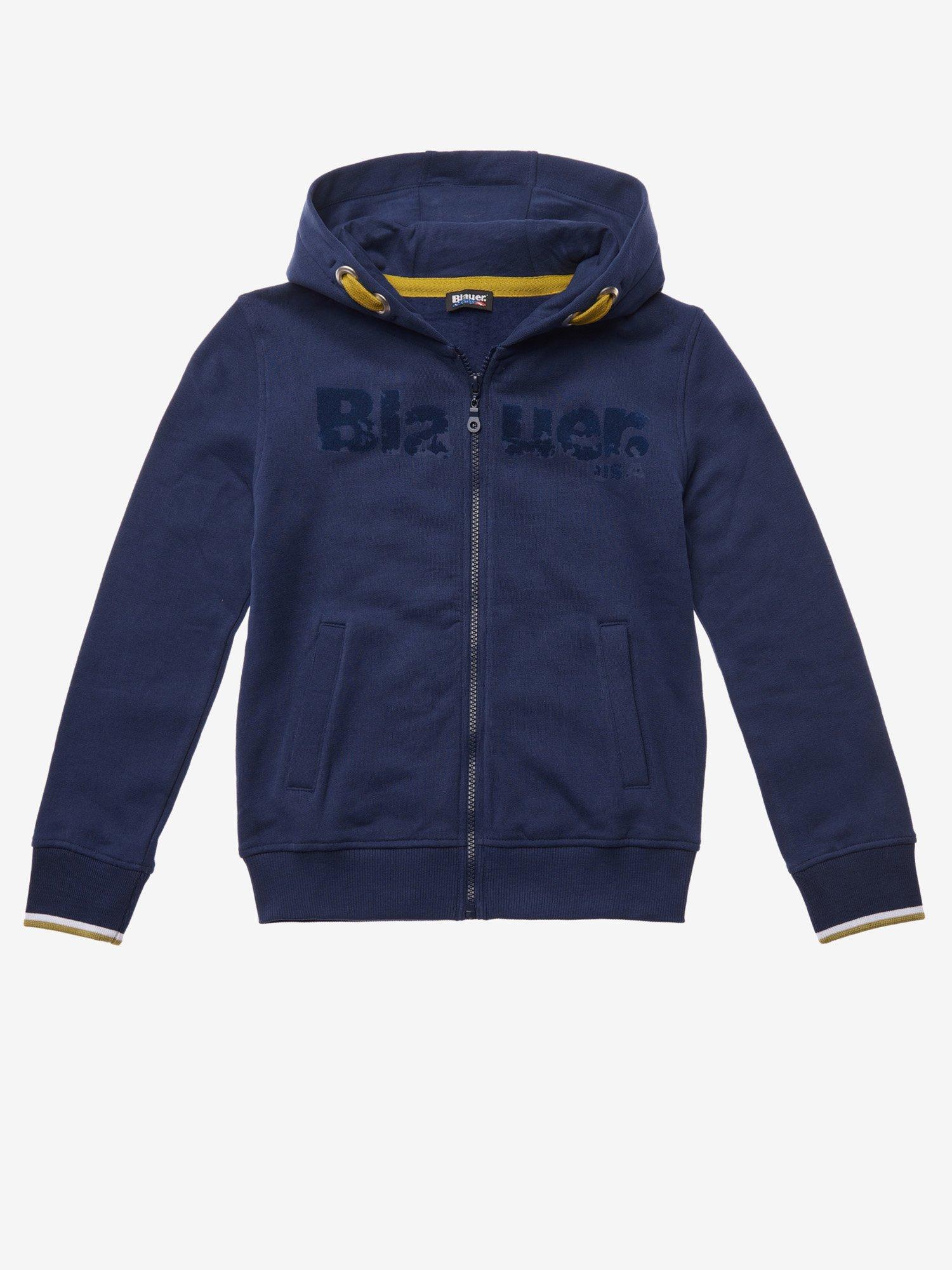 Blauer - JUNIOR COTTON HOODED SWEATSHIRT - Blue Ionio - Blauer
