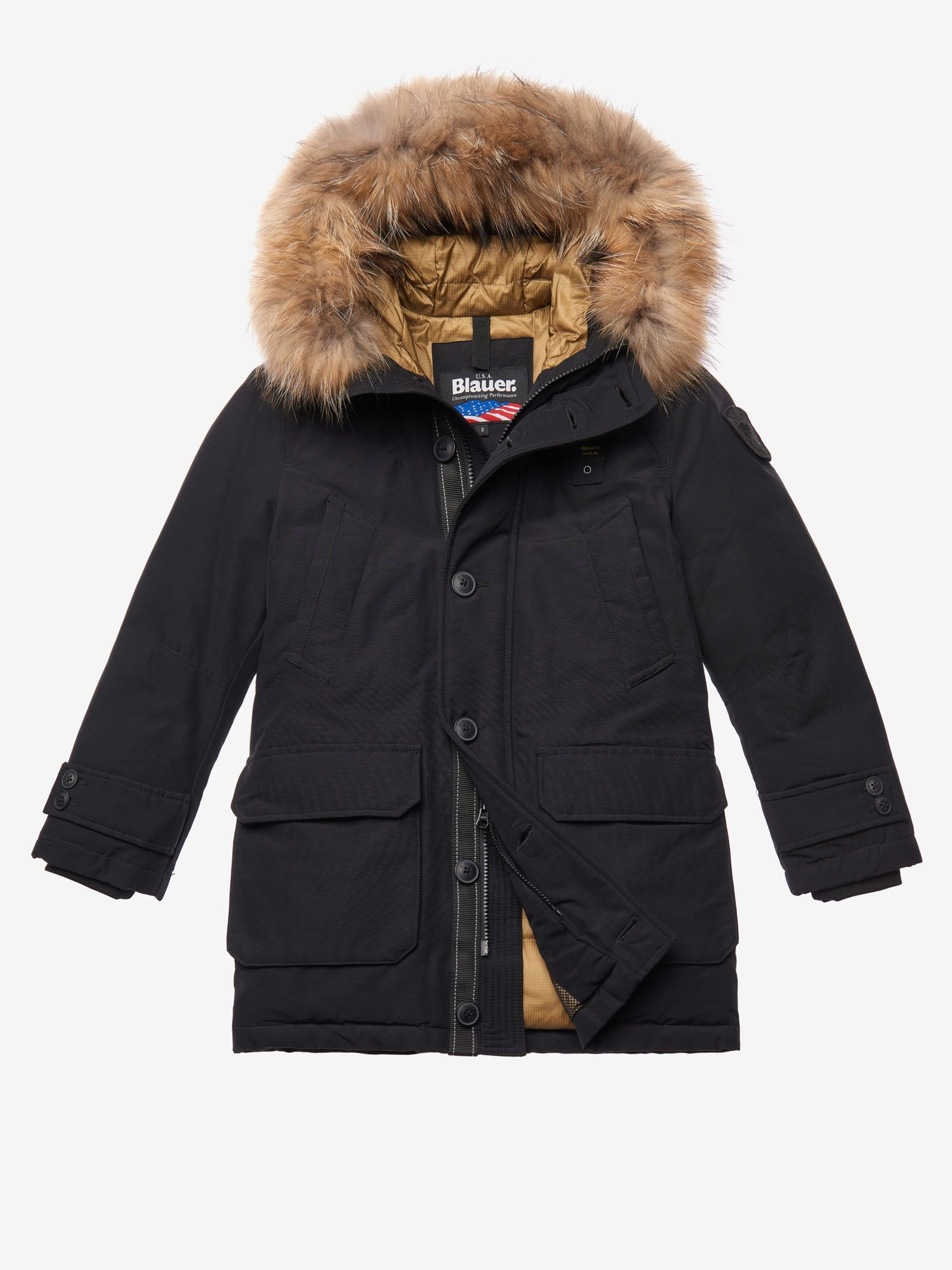 ELLIOTT  PARKA WITH HOOD AND FUR TRIM - Blauer