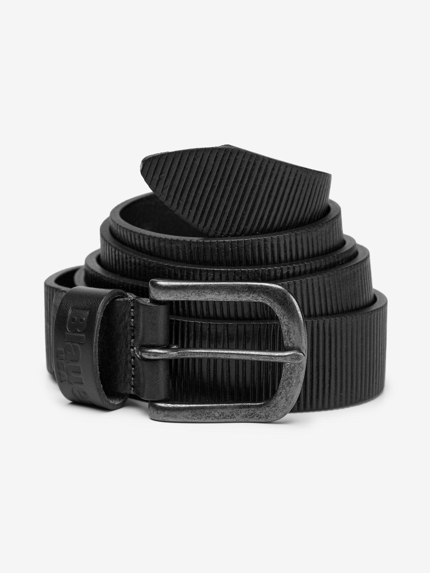 LEATHER BELT WITH EMBOSSED LOGO - Blauer