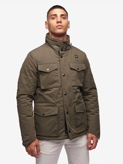 GRAY MILITARY FIELD JACKET IN GABARDINE