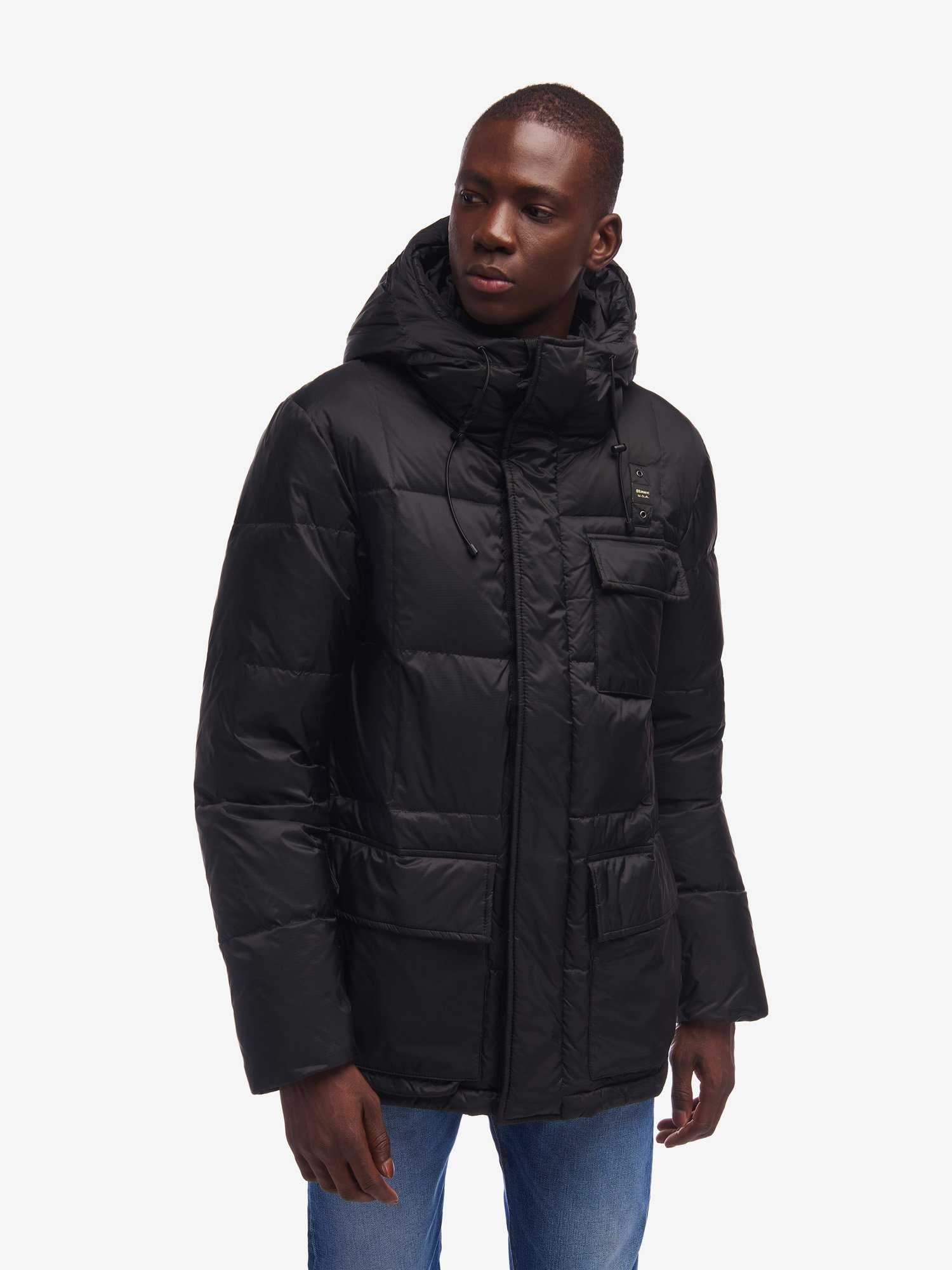 Blauer - RICHARDS LONG RECYCLED DOWN JACKET - Black - Blauer