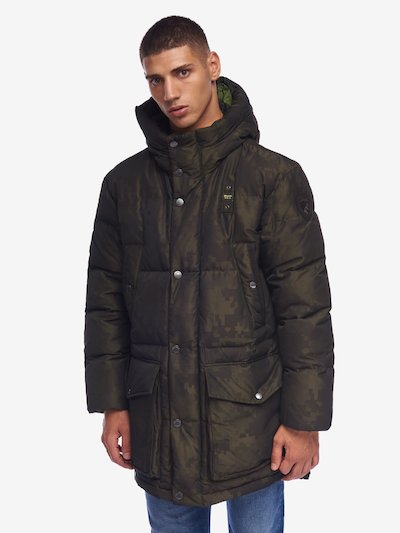 KHAN PIXEL CAMOUFLAGE LONG DOWN JACKET