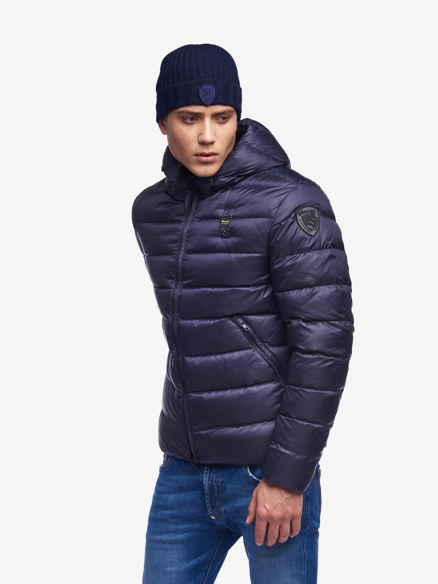 MILLS DOWN JACKET WITH ATTACHED HOOD - Blauer
