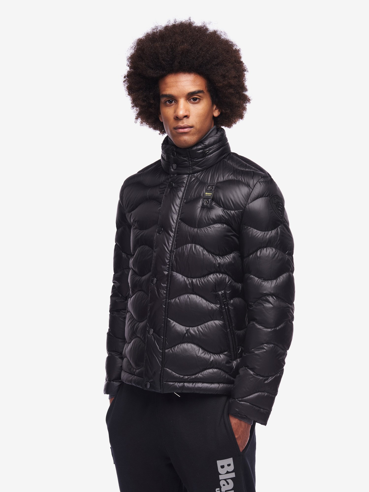 Blauer - DIXON SHINY WAVE DOWN JACKET - Black - Blauer