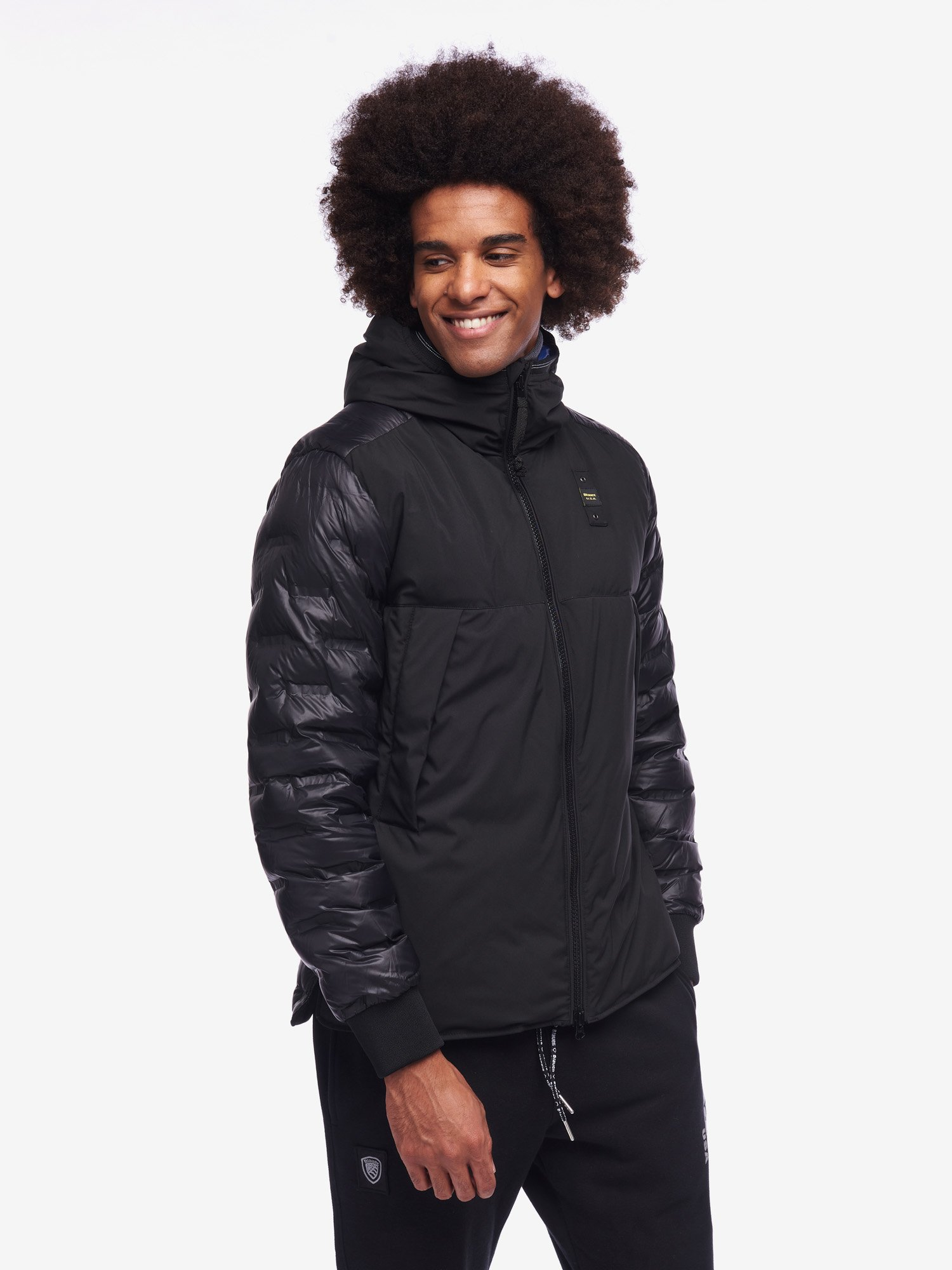 HAMILTON NYLON AND NEOPRENE DOWN JACKET WITH HOOD - Blauer