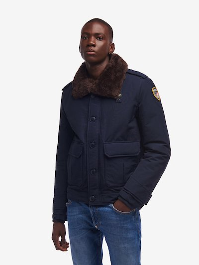 STONE POLICE JACKET WITH ECO-FUR COLLAR