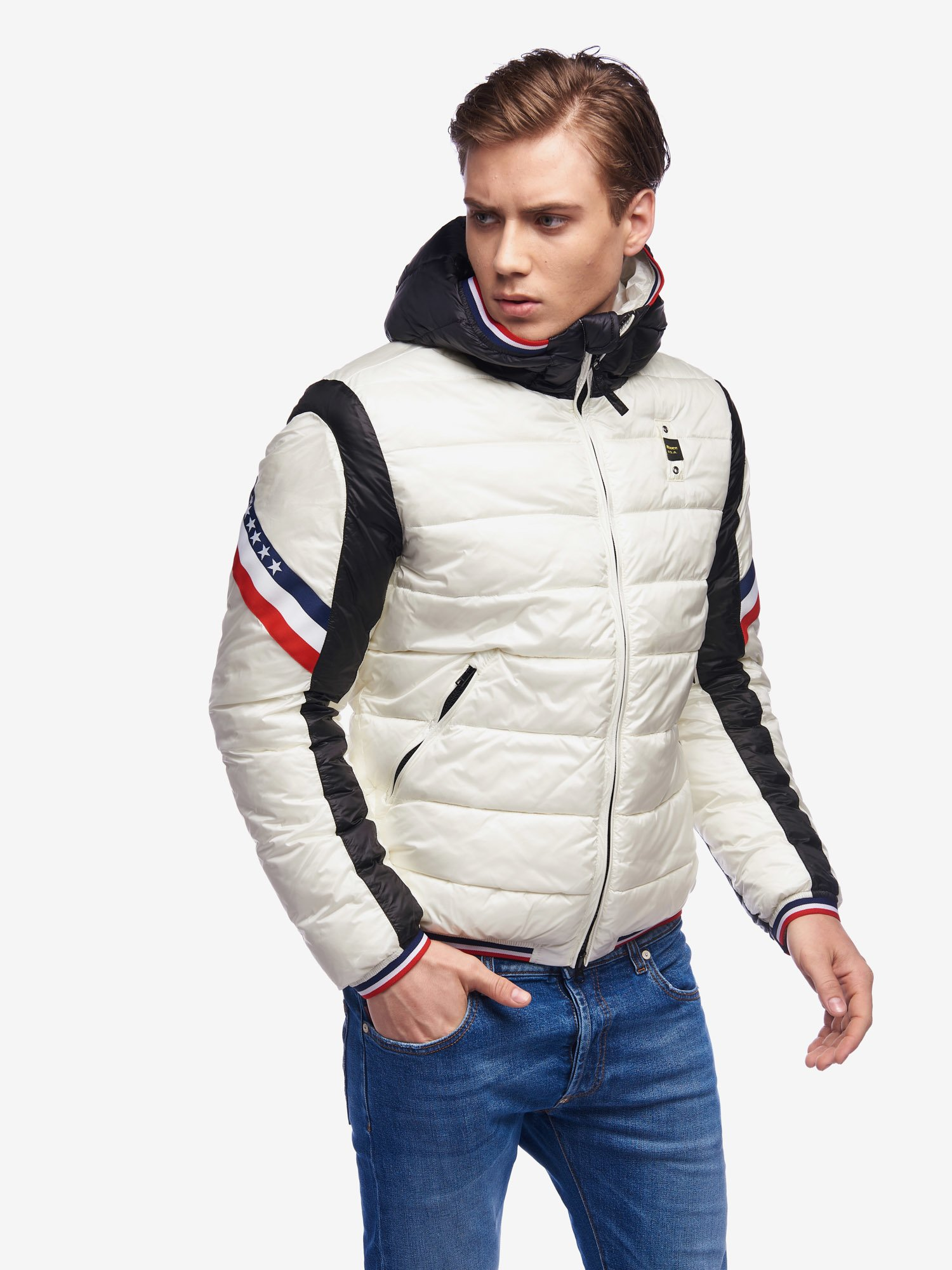 GILL BICOLOUR NYLON DOWN JACKET - Blauer