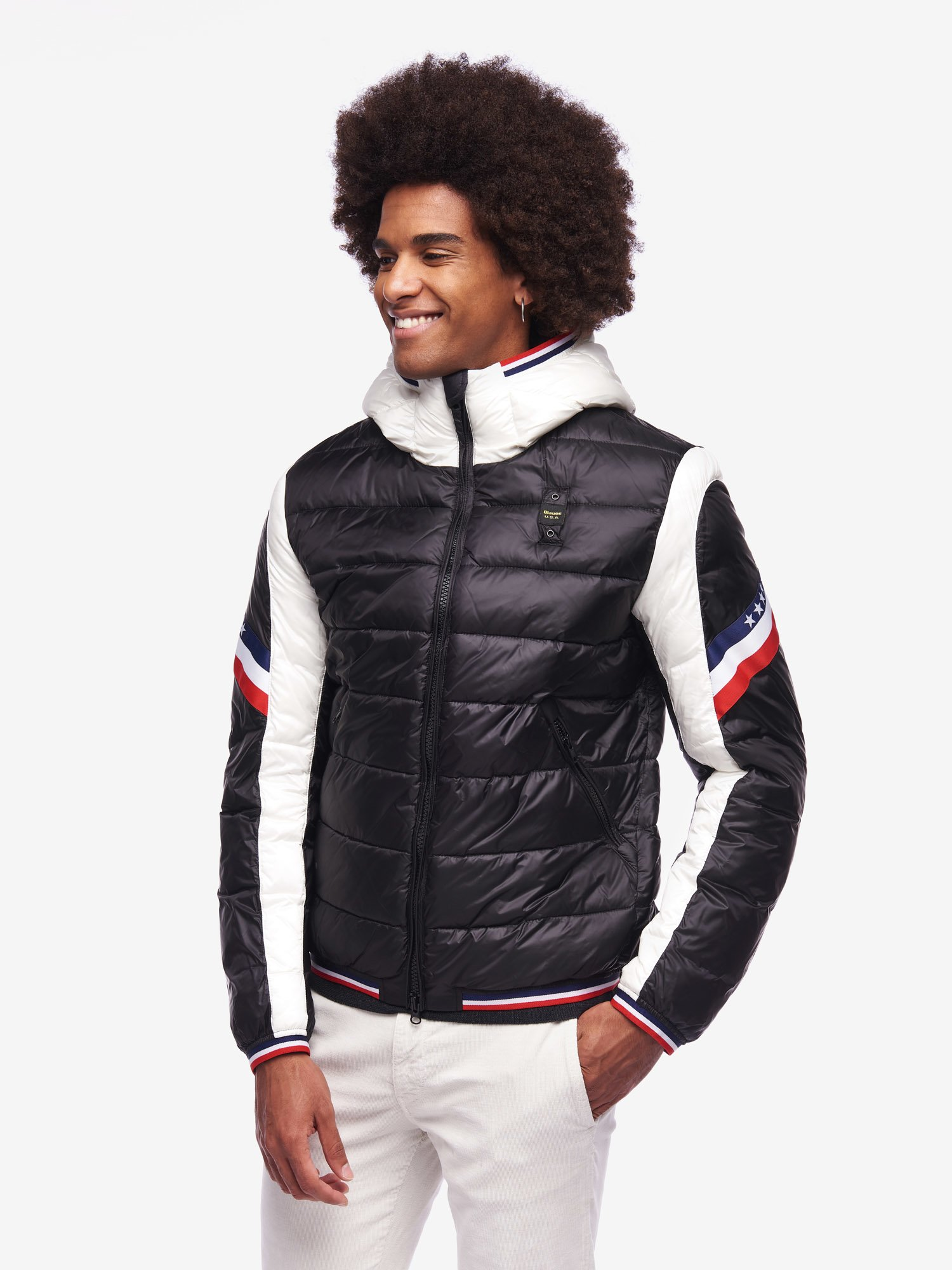 Blauer - GILL BICOLOUR NYLON DOWN JACKET - Black - Blauer