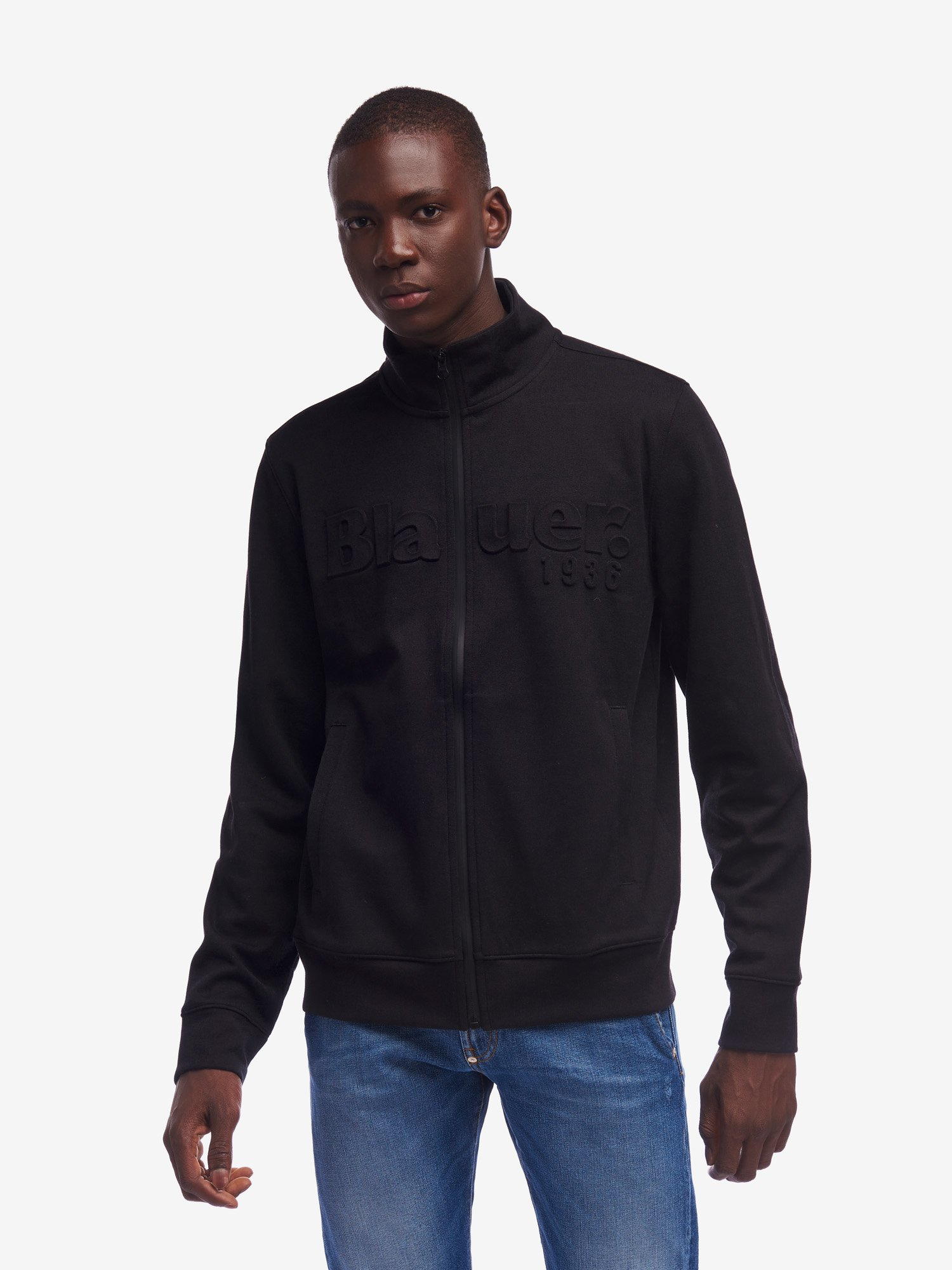 Blauer - COATED ZIP SWEATSHIRT WITH PATCH - Black - Blauer