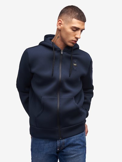 SOLID COLOUR NEOPRENE HOODED SWEATSHIRT
