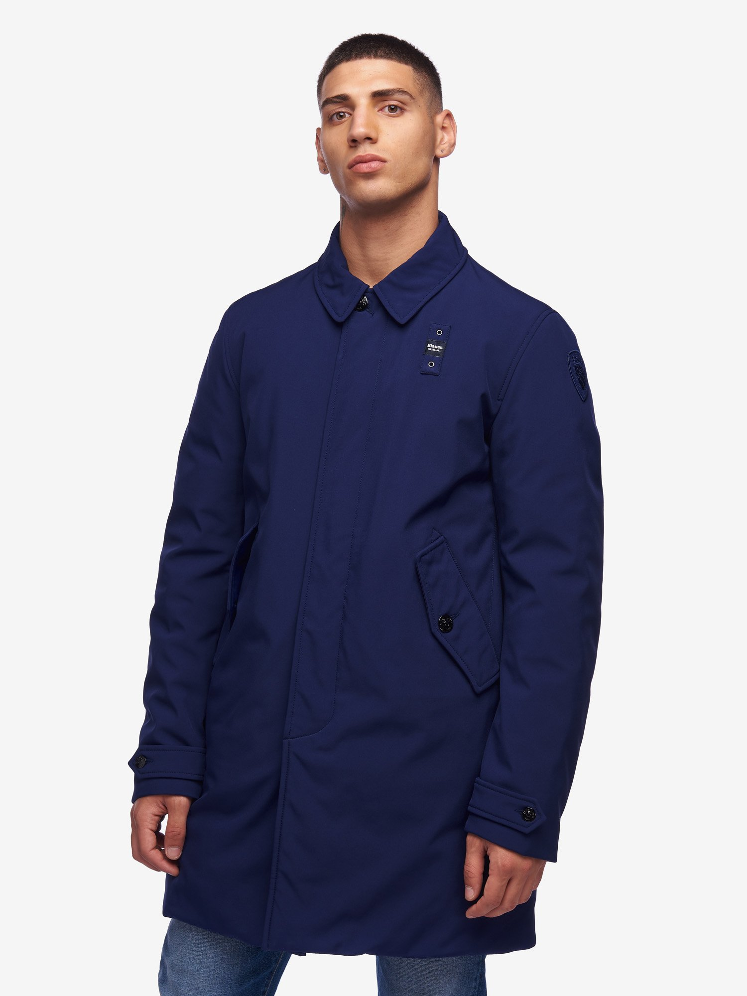 Blauer - SPENCER WATERPROOF LONG PADDED RAIN JACKET - Blue Ionio - Blauer
