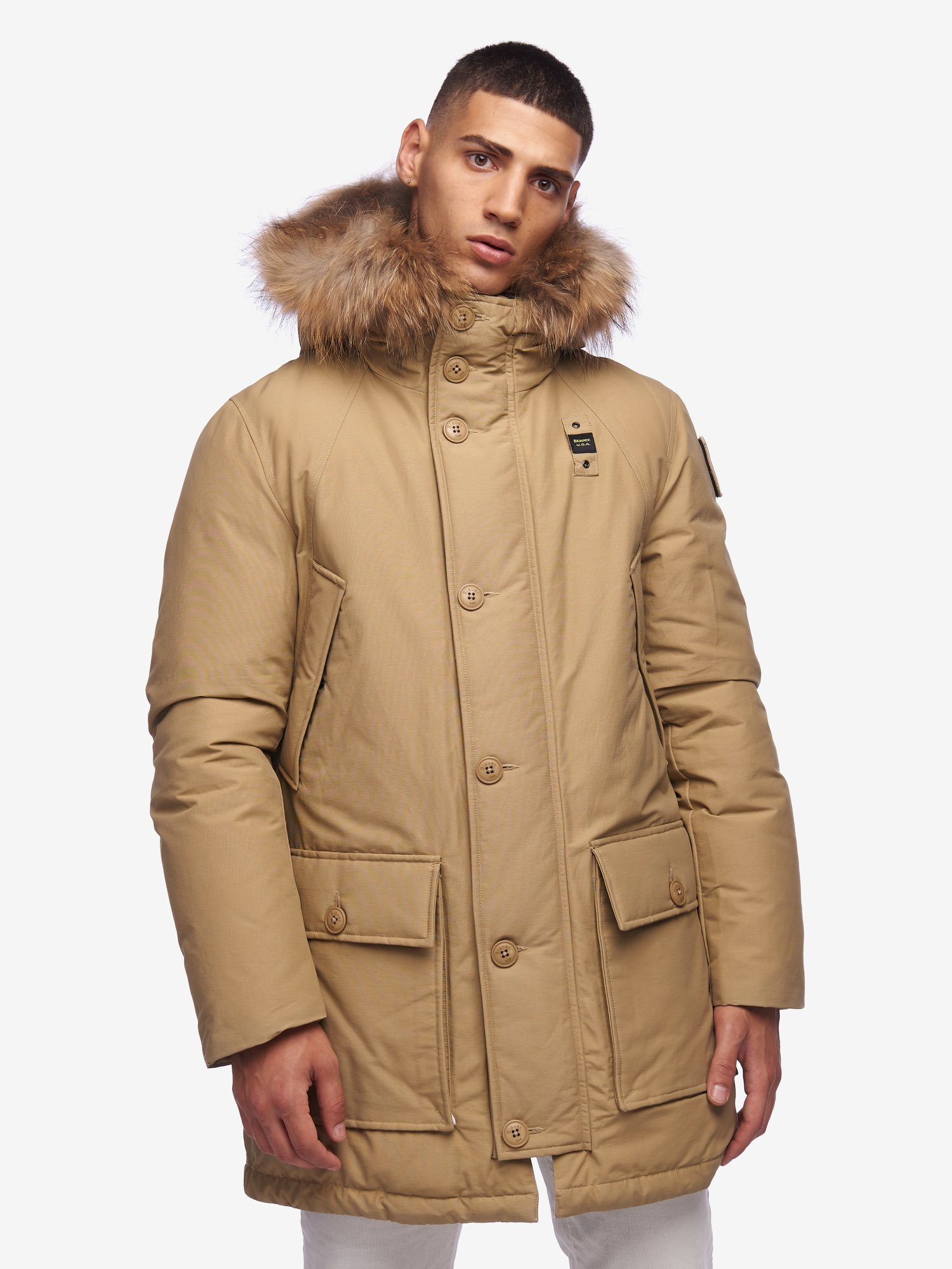 JARVIS PARKA WITH HOOD AND FUR TRIM - Blauer
