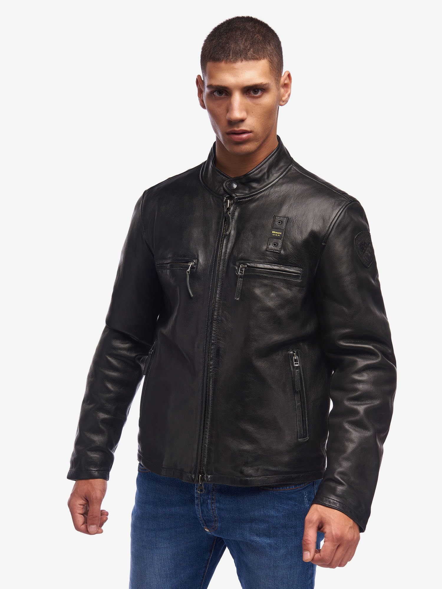 Blauer - WATSON LIGHTWEIGHT PADDED LEATHER JACKET - Black - Blauer