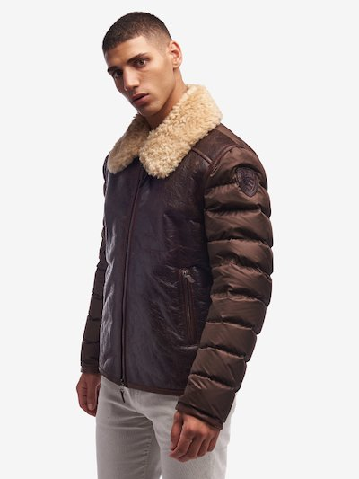 CLARKE VINTAGE SHEARLING LEATHER AND NYLON JACKET