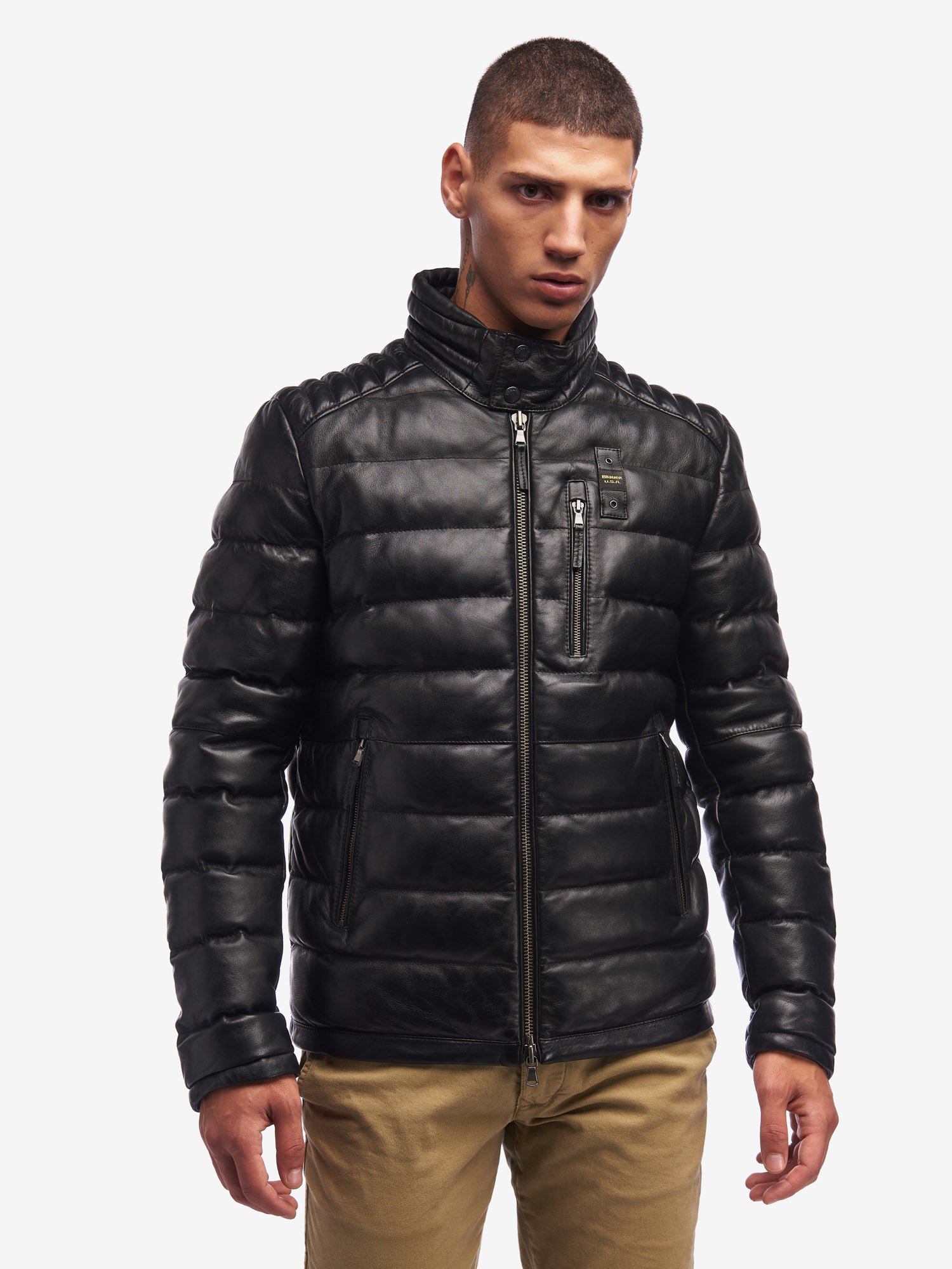 HUGHES PADDED LEATHER JACKET - Blauer
