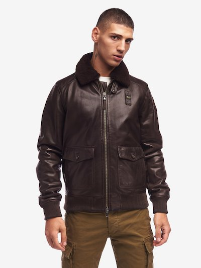 BAILEY LEATHER BOMBER WITH FUR COLLAR