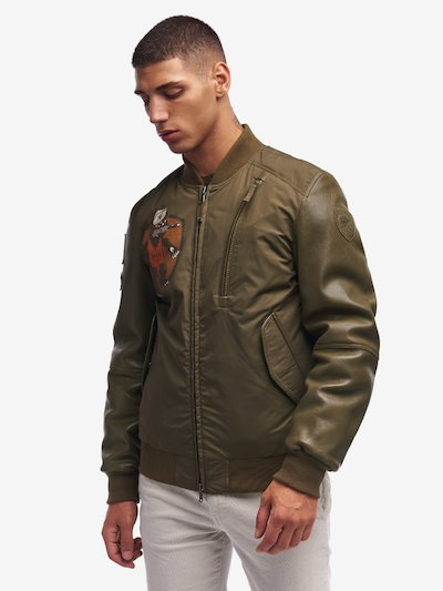 BOMBER IMBOTTITO CON INSERTI IN PELLE GRIFFITHS