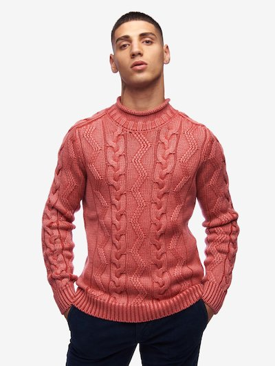 SWEATER WITH CABLES AND ZIGZAG