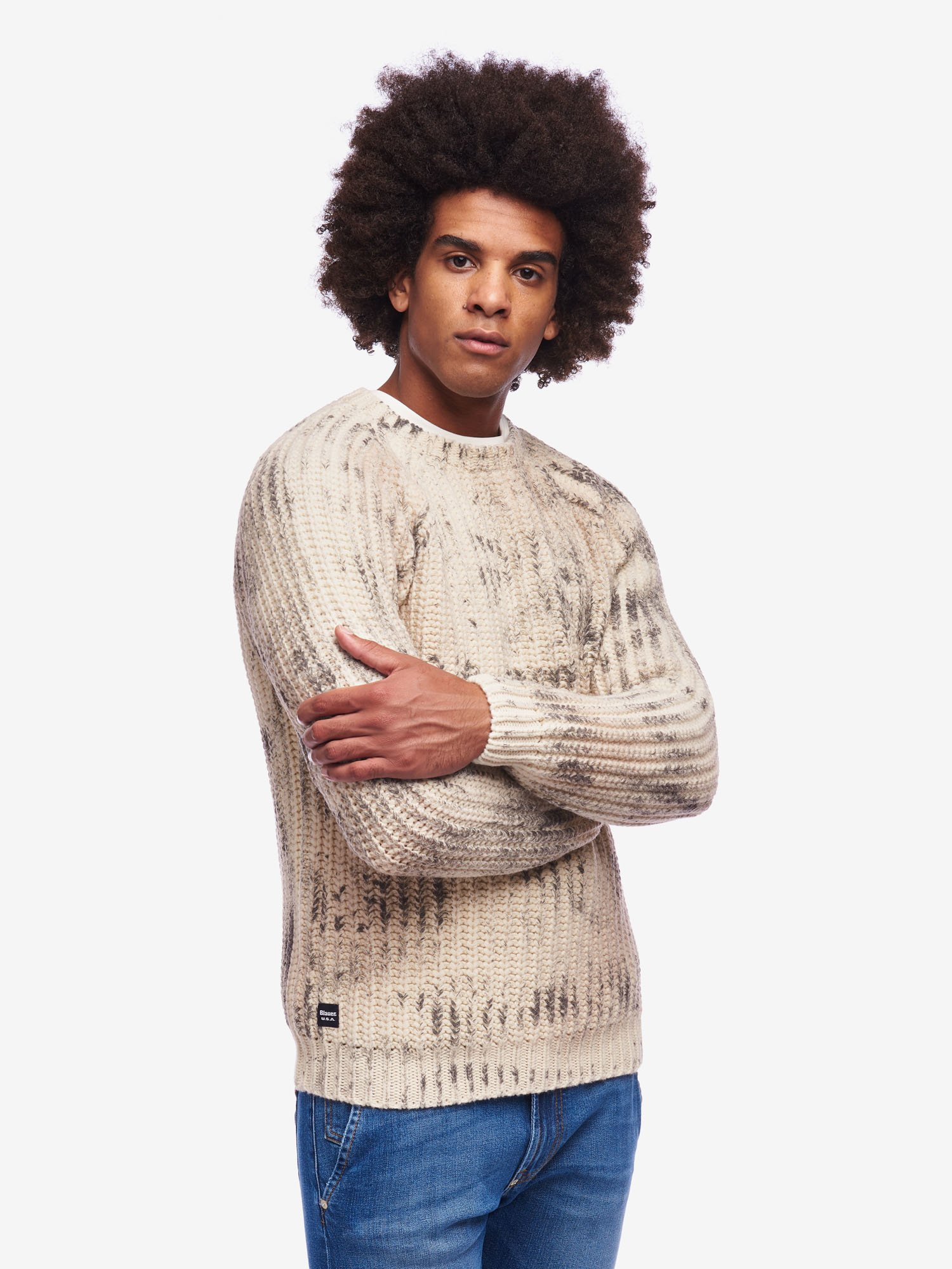 PRINTED CREW NECK SWEATER - Blauer