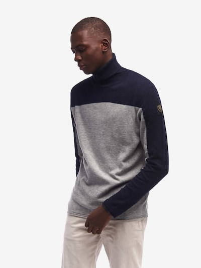 PULL COL MONTANT POUR HOMME BICOLORE