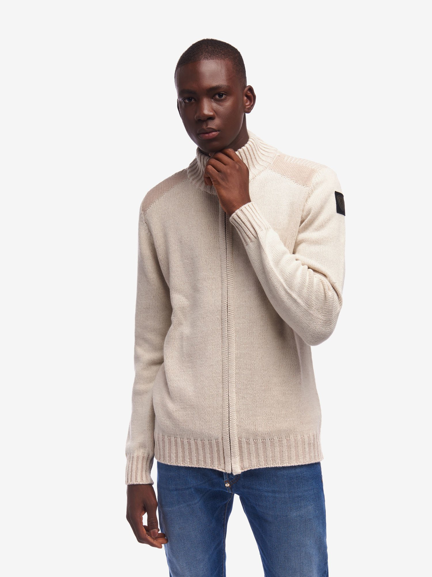 SWEATER WITH ZIP AND HIGH NECK - Blauer