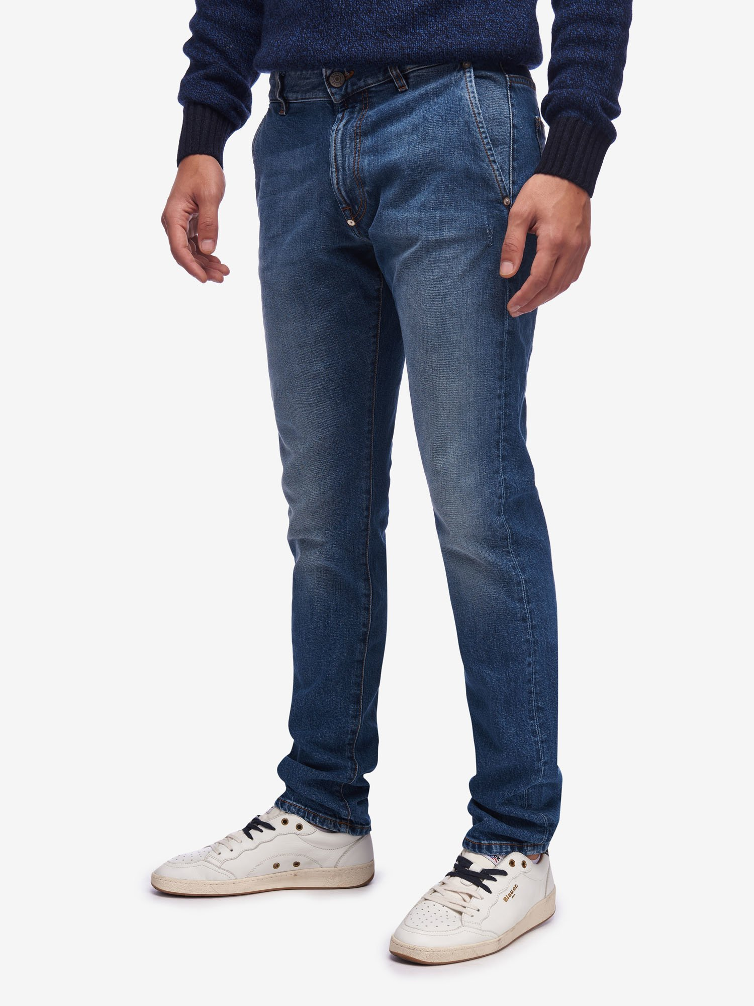 STRETCH DENIM TROUSERS WITH ZIP - Blauer