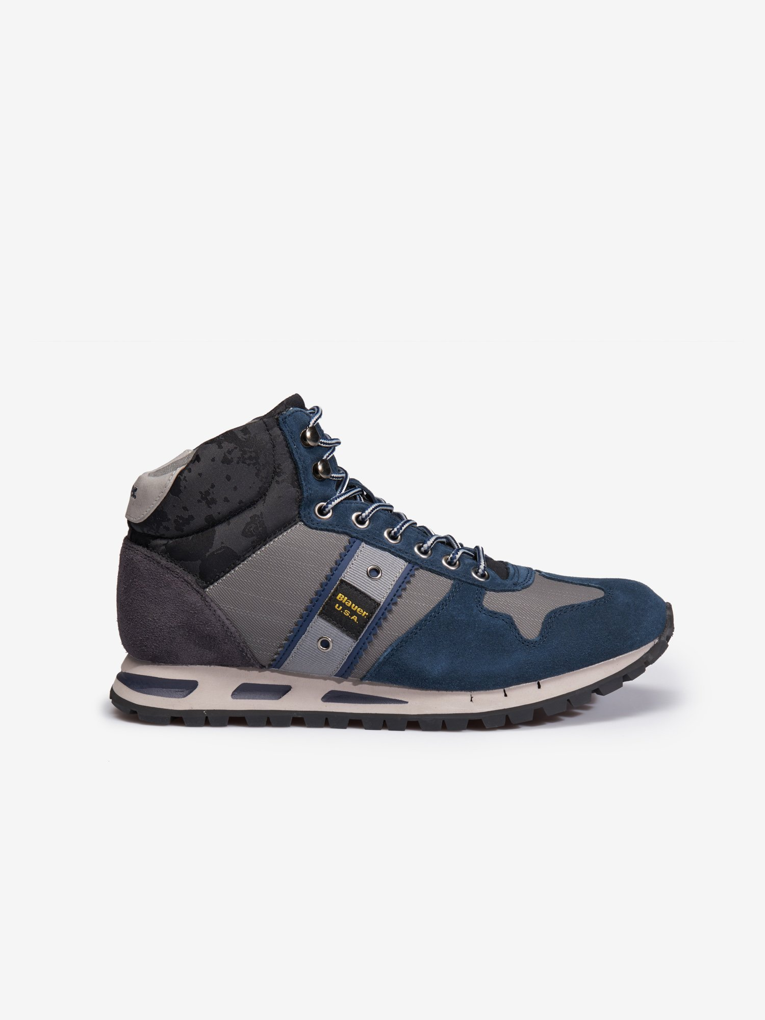 MUSTANG HIGH-TOP SUEDE TRAINERS - Blauer