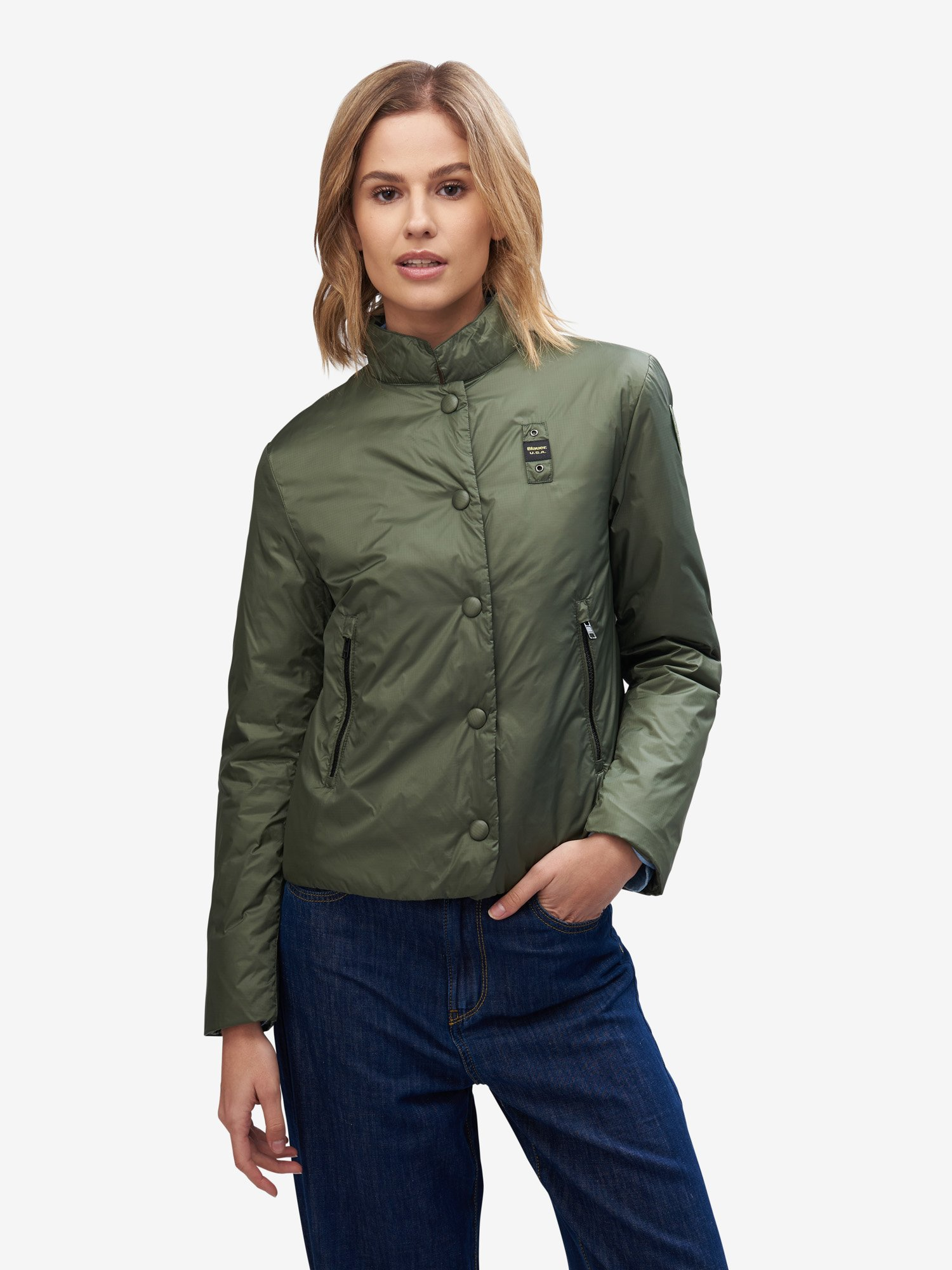 Blauer - COLEMAN FLARED SHORT JACKET - Olive Green - Blauer
