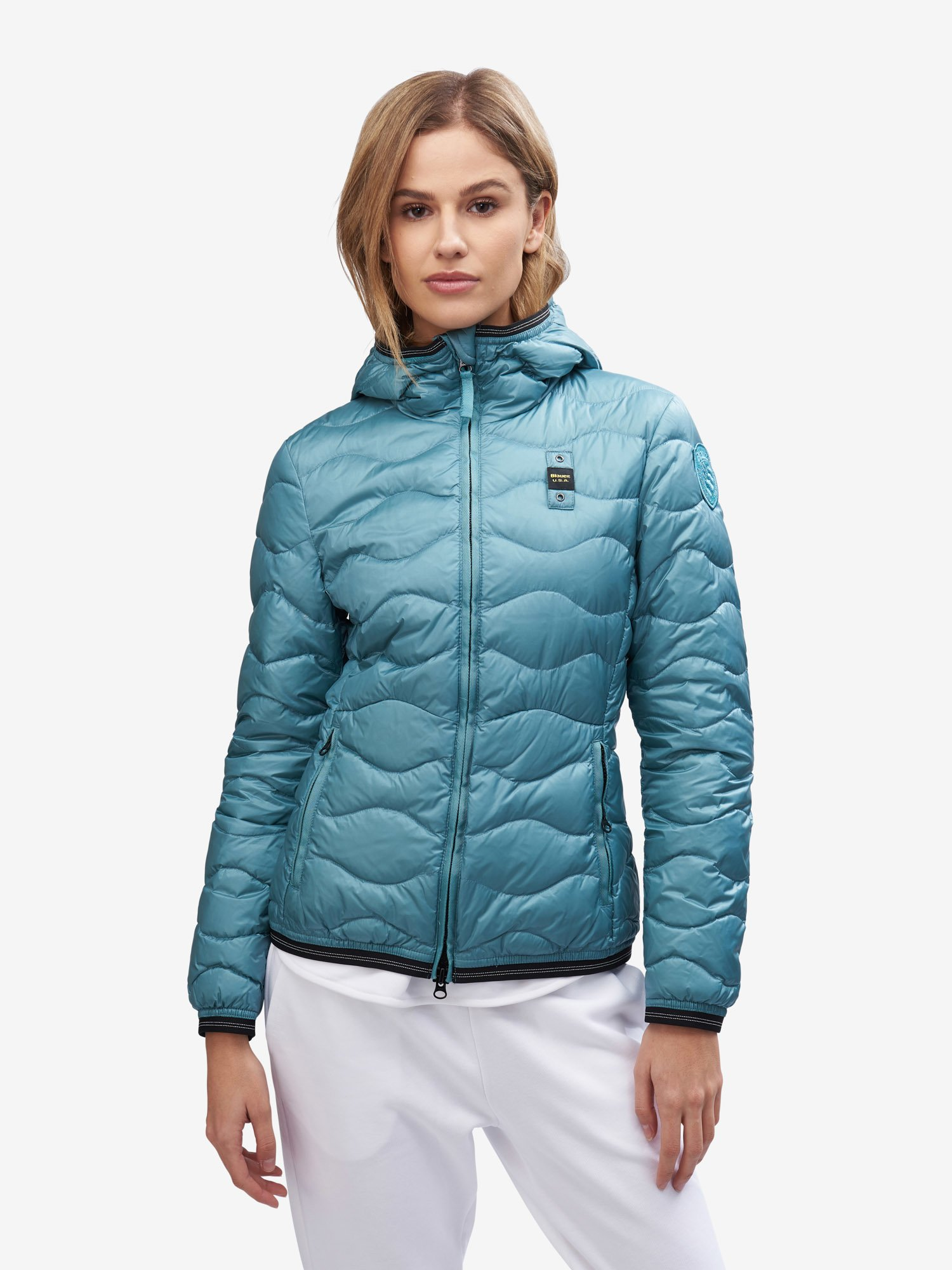 Blauer - FERGUSON WAVE-QUILTED DOWN JACKET - Blue Ocean - Blauer