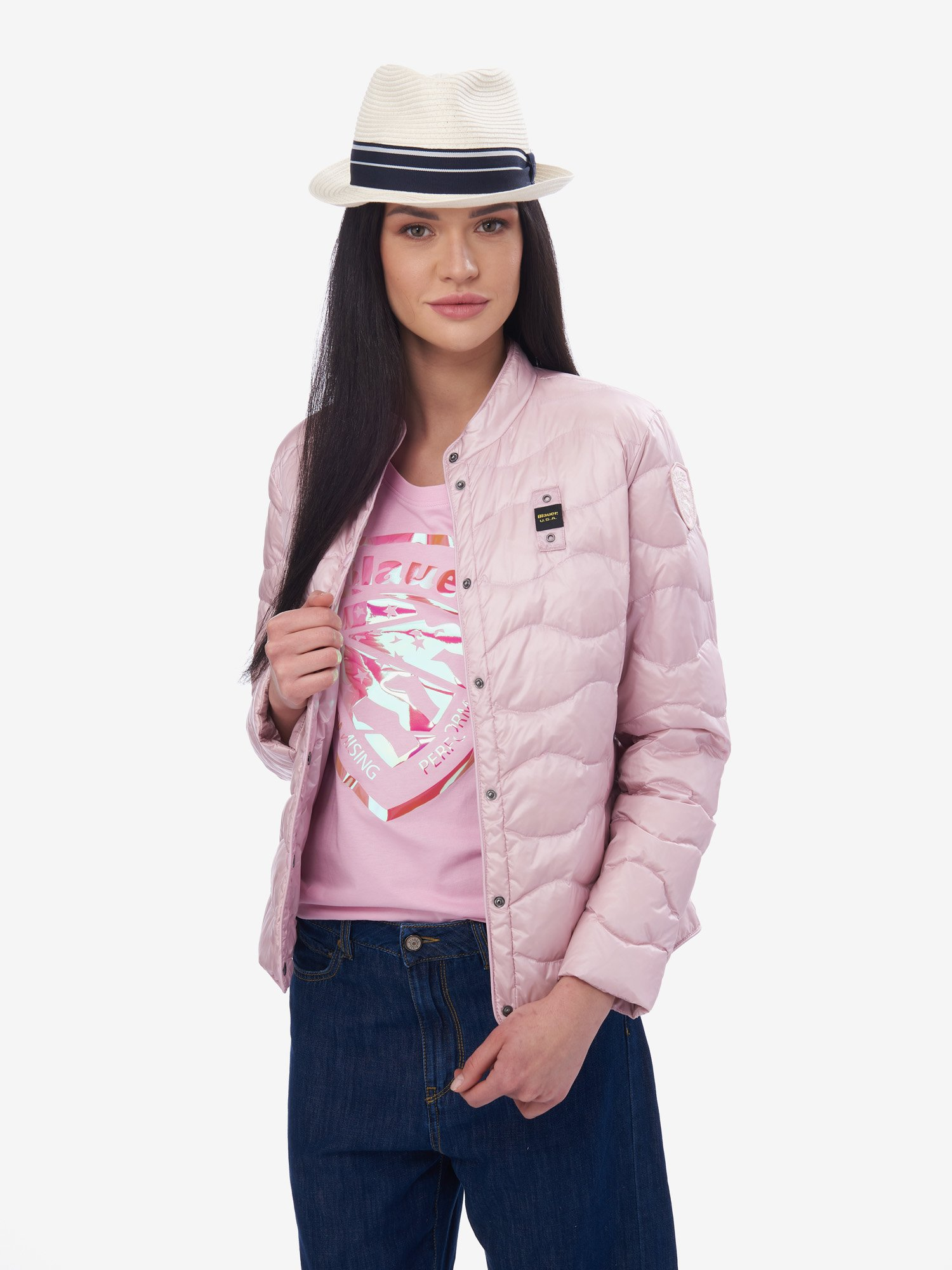 Blauer - REED WAVE-QUILTED DOWN JACKET - Pink Pastel - Blauer