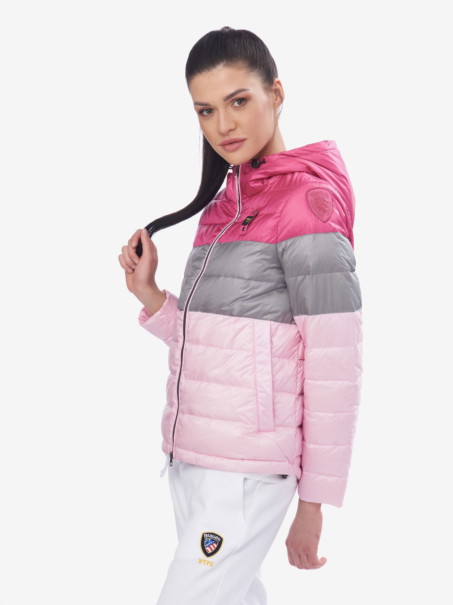 Blauer - BIRD LIGHTWEIGHT THREE-COLOUR PADDED JACKET - Shocking Pink - Blauer