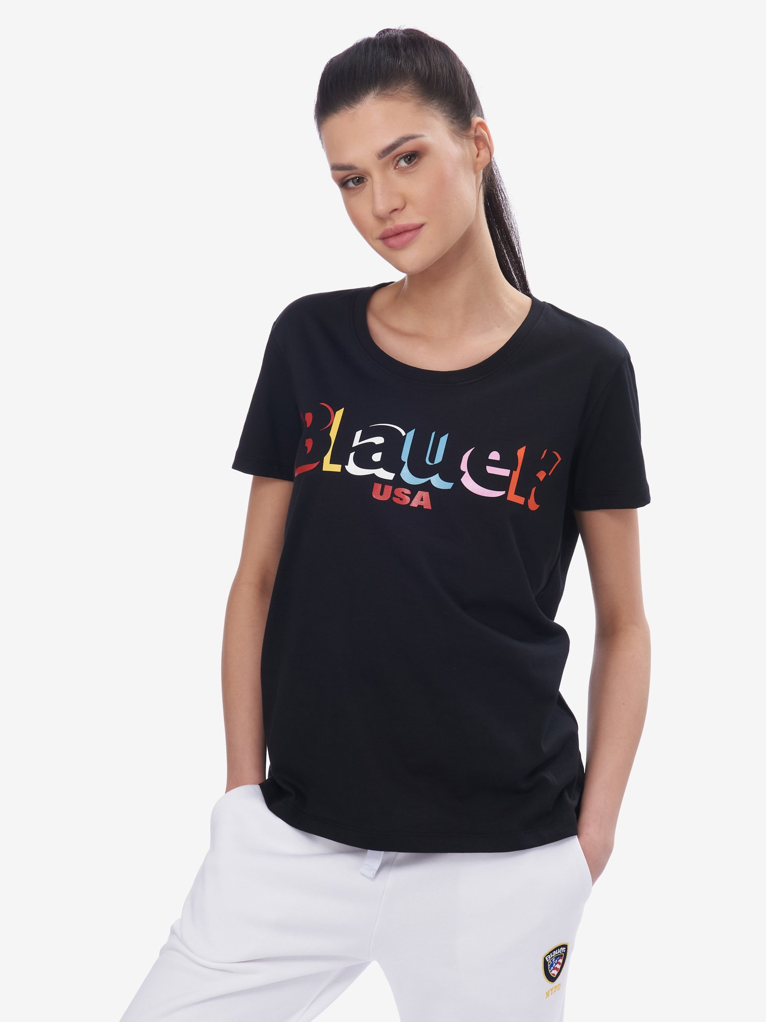 Blauer - COLOURFUL BLAUER T-SHIRT - Black - Blauer