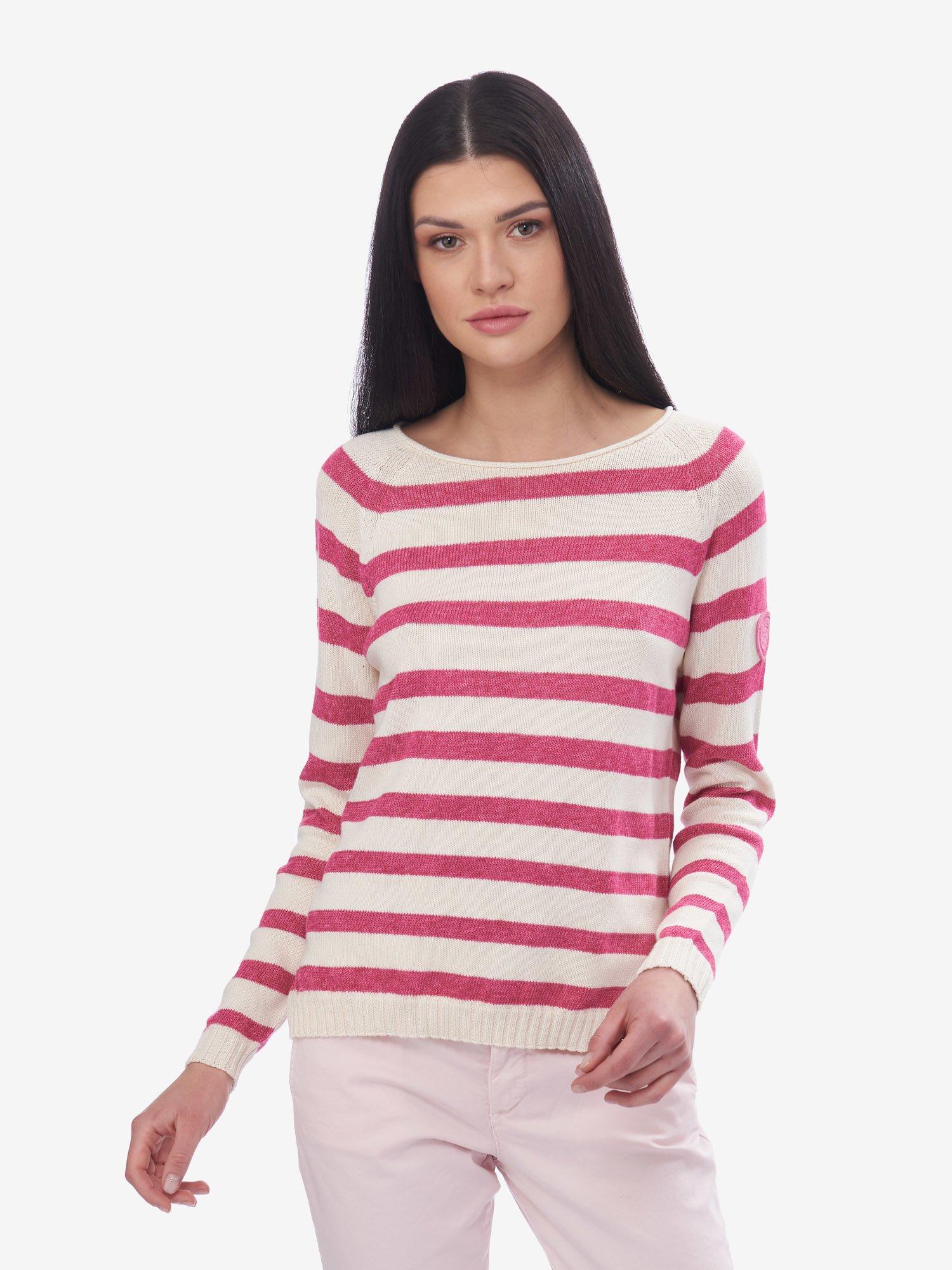 Blauer - STRIPED SWEATER - Pink Melange - Blauer