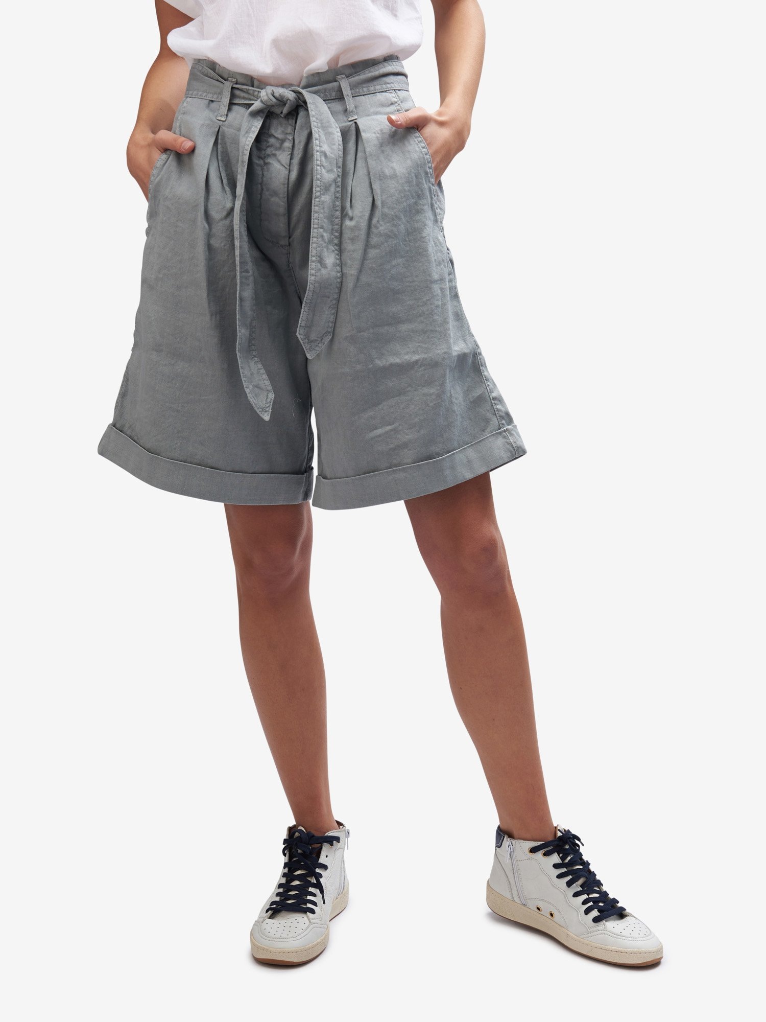 Blauer - SHORTS WITH BELT - Grey Pigeon - Blauer