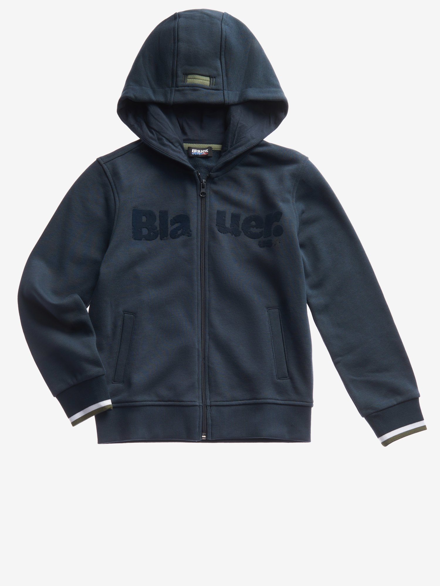 Blauer - JUNIOR SWEATSHIRT WITH HOOD AND ZIP - Cadet Blue - Blauer