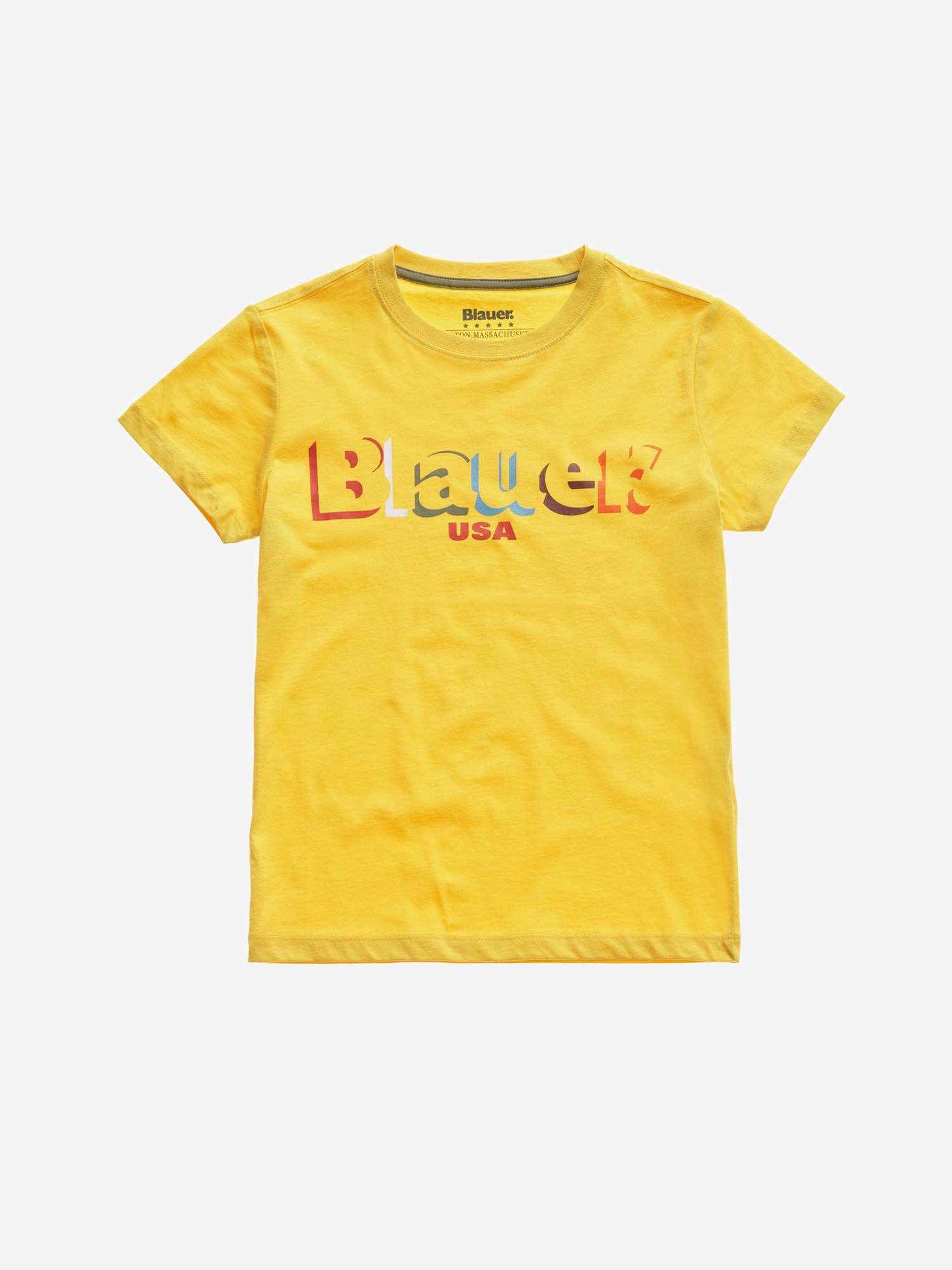 Blauer - JUNIOR COLOURFUL BLAUER T-SHIRT - Canary - Blauer