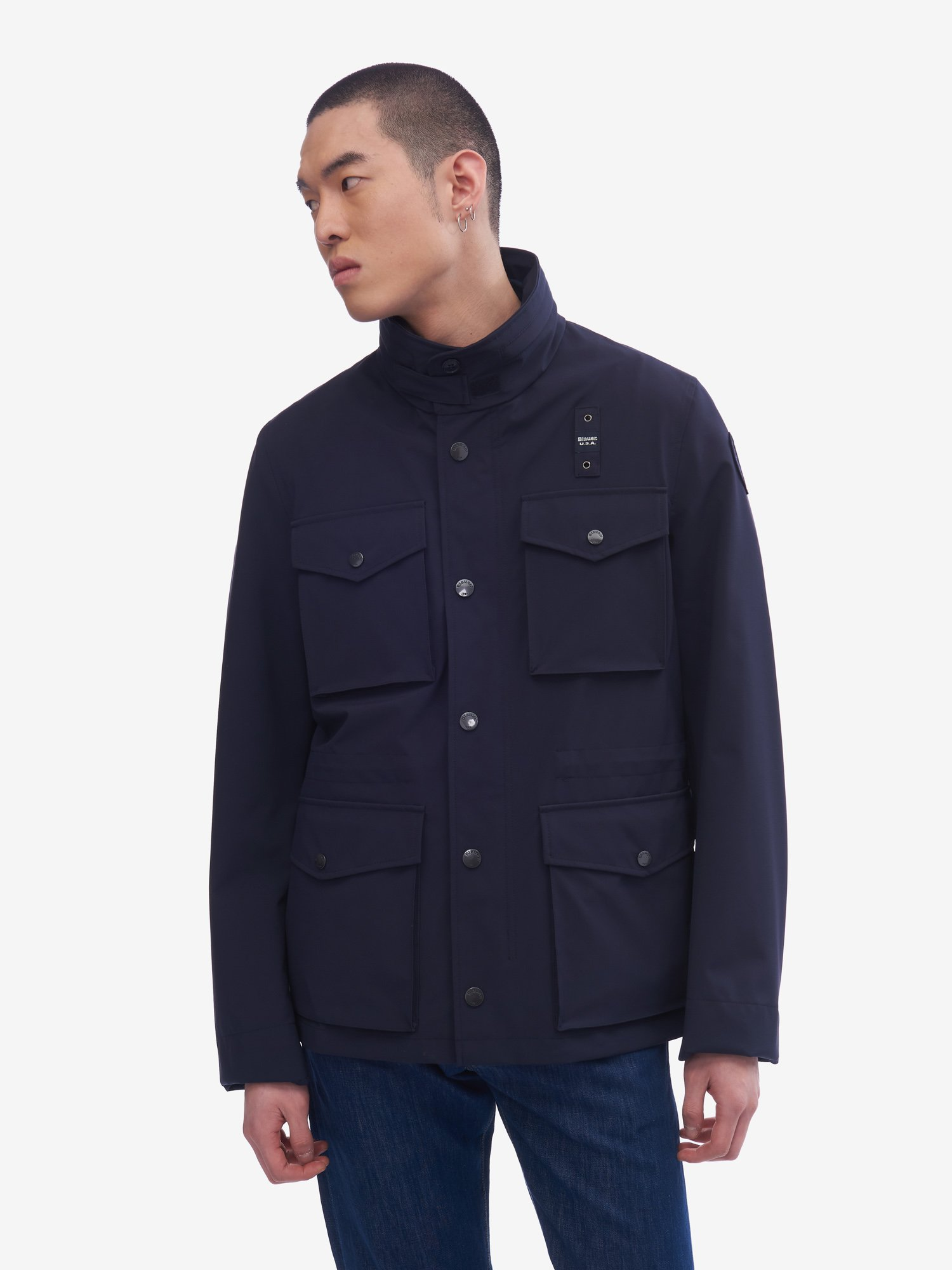 Blauer - NEOPRENE UNLINED FIELD JACKET - Cadet Blue - Blauer